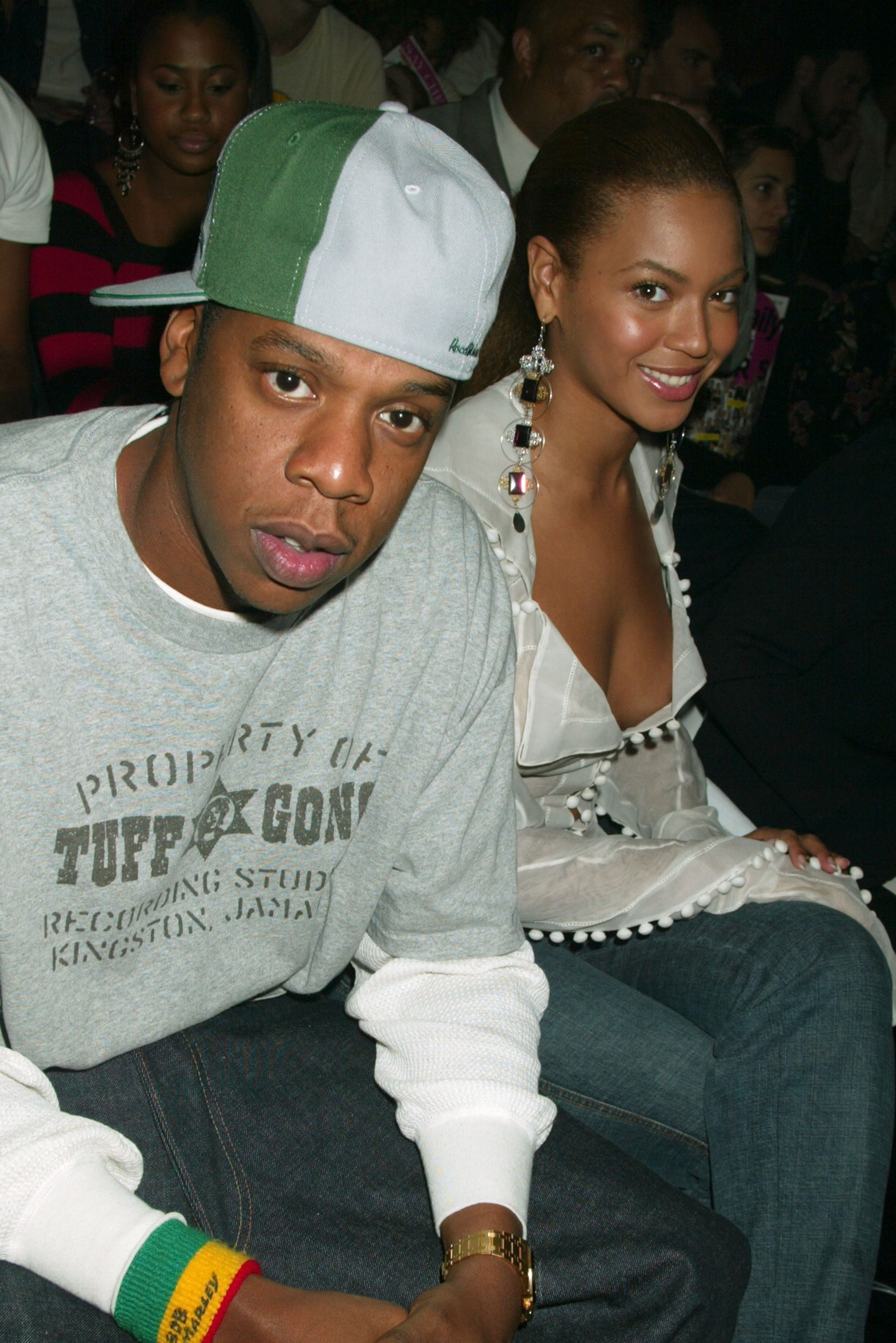Jay Z and Beyonce Knowles during Mercedes Benz Fashion Week Spring 2004   Rosa Cha   Front Row  in New York City on Sept. 13, 2003.
