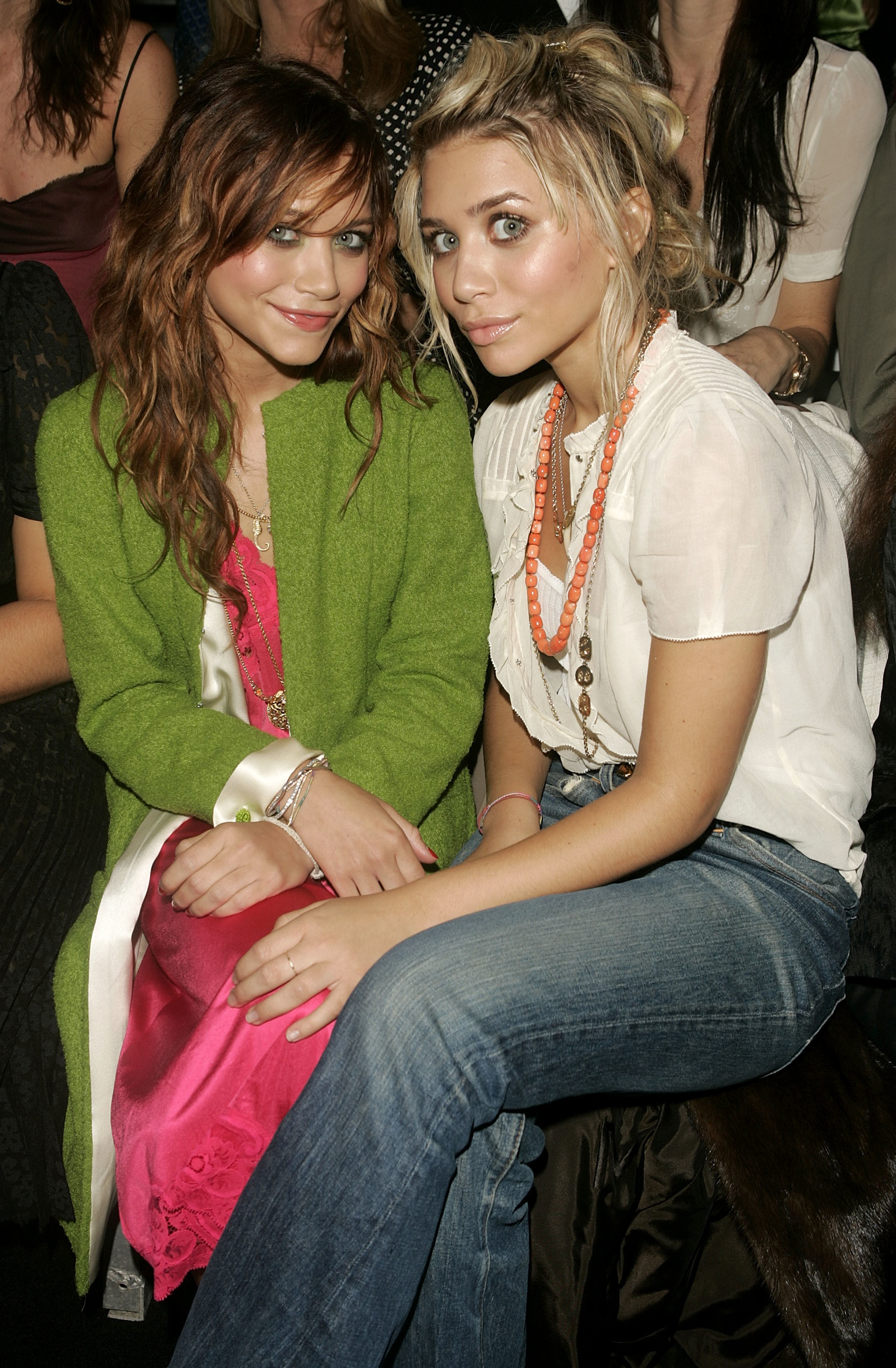 Mary Kate Olsen and Ashley Olsen attend the Marc Jacobs show during the Olympus Fashion Week Spring 2005 in New York City on Sept. 13, 2004.