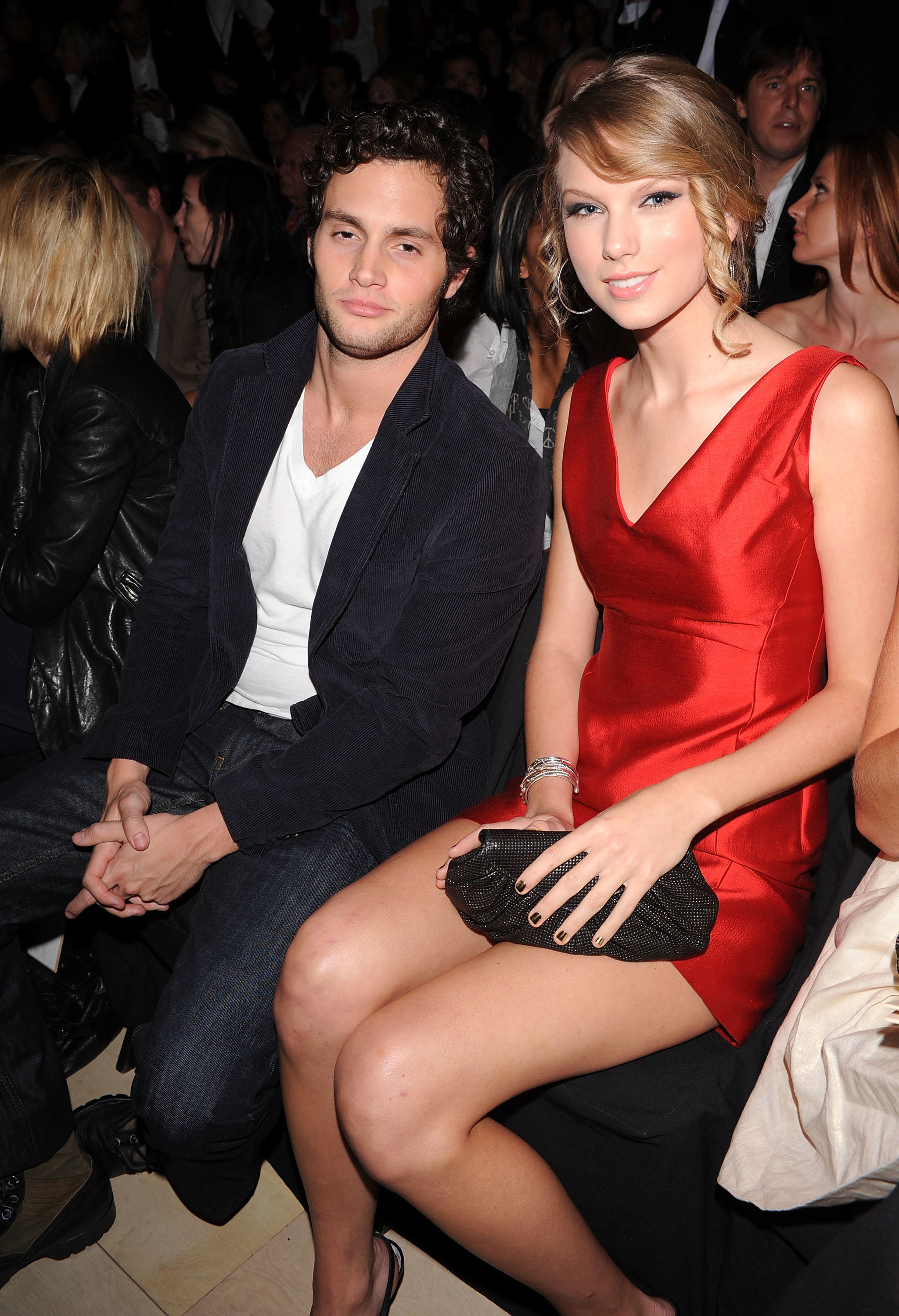 Penn Badgley and Taylor Swift attend the Tommy Hilfiger Spring 2010 Mens & Womens Collection in New York City on Sept. 17, 2009.