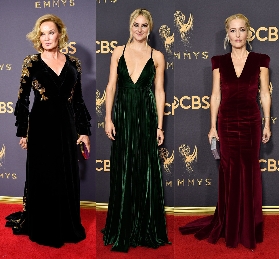 Jessica Lange, Shailene Woodley and Gillian Anderson attend the 2017 Primetime Emmy Awards in Los Angeles on Sept. 17, 2017.