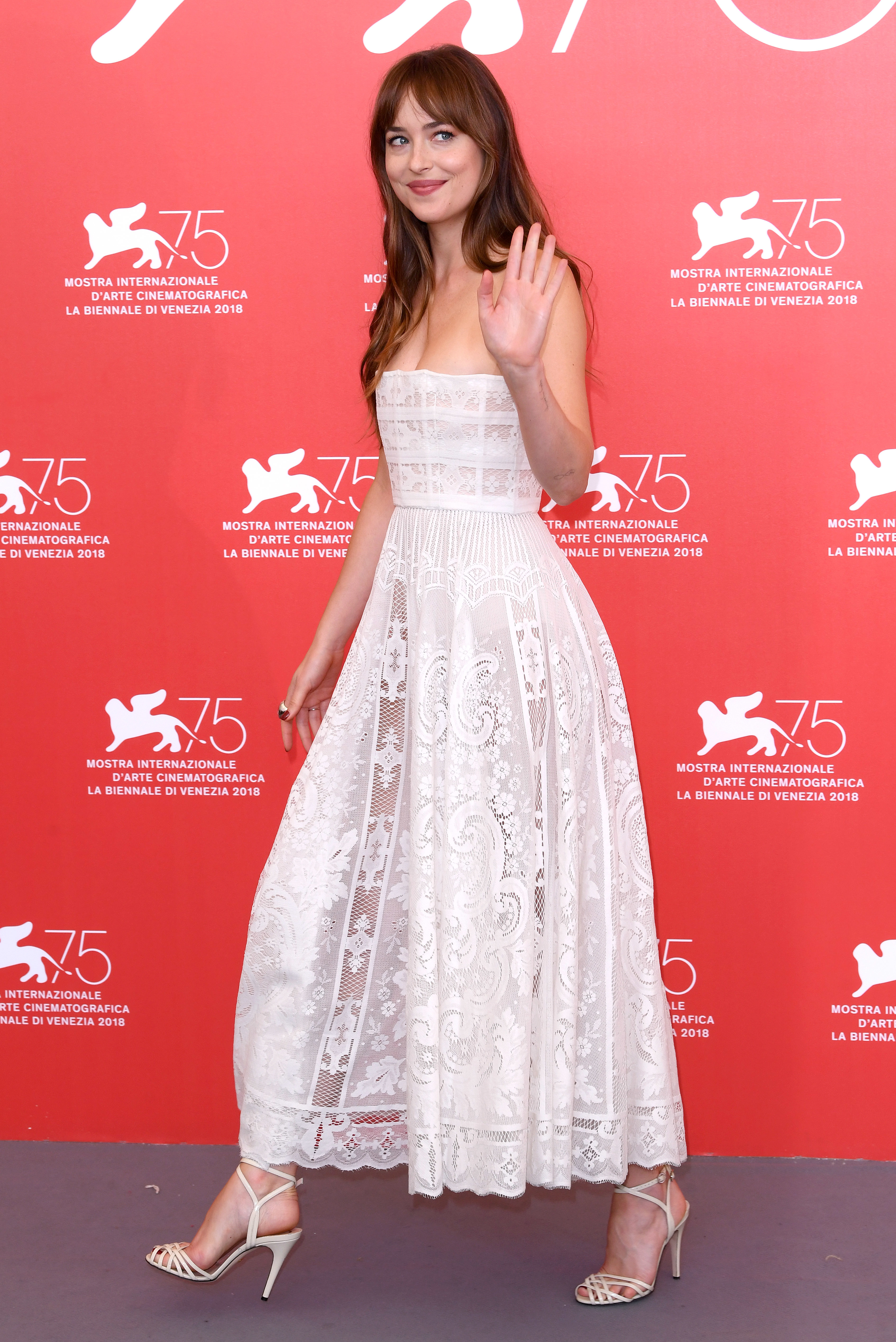 """Dakota Johnson attends a photo call for """"Suspiria"""" during the 75th Venice International Film Festival in Italy on Sept. 1, 2018."""