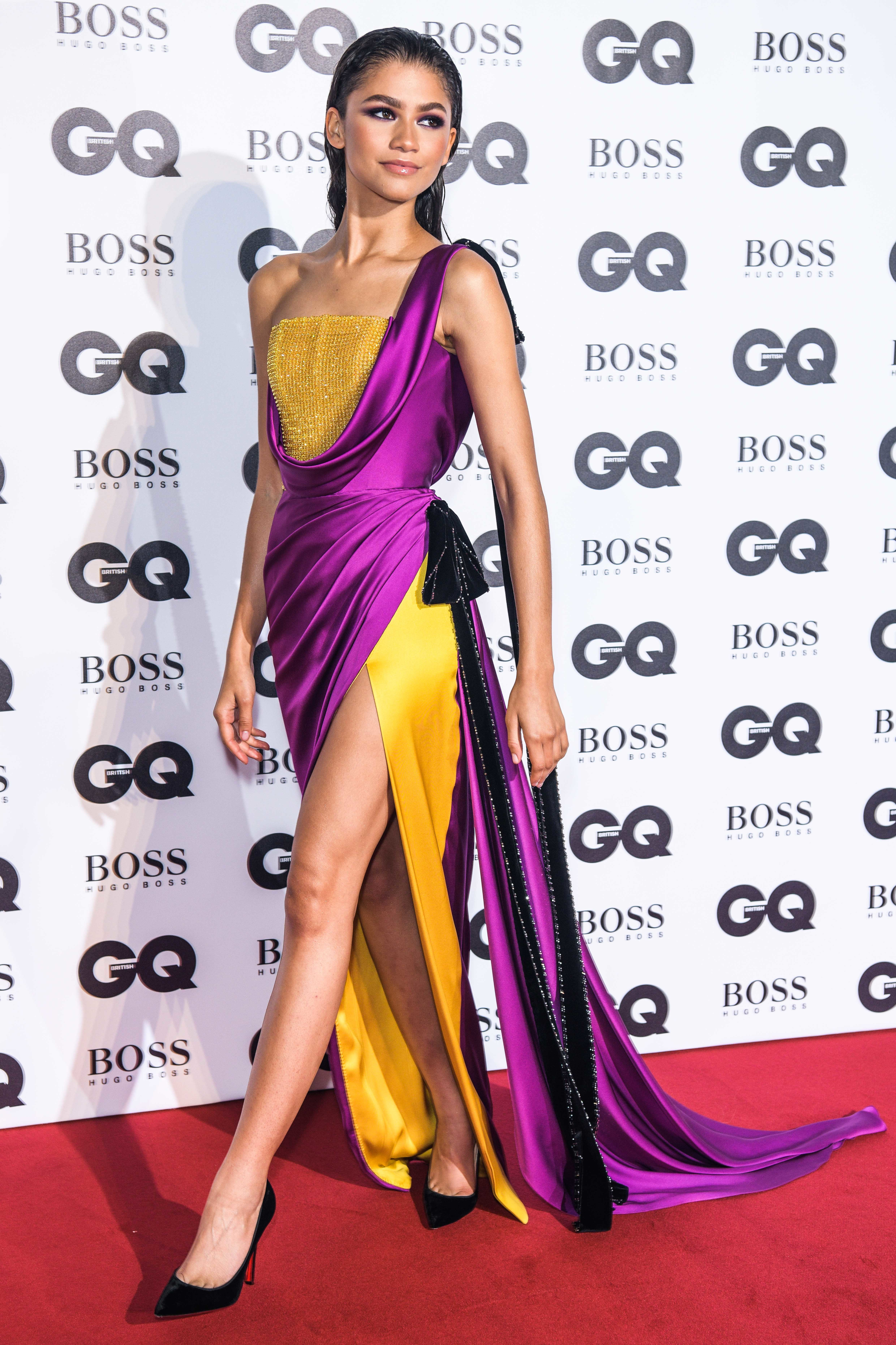 Zendaya, in Ralph & Russo, arrives at the GQ Men of the Year Awards at the Tate Modern in London on Sept. 5, 2018.