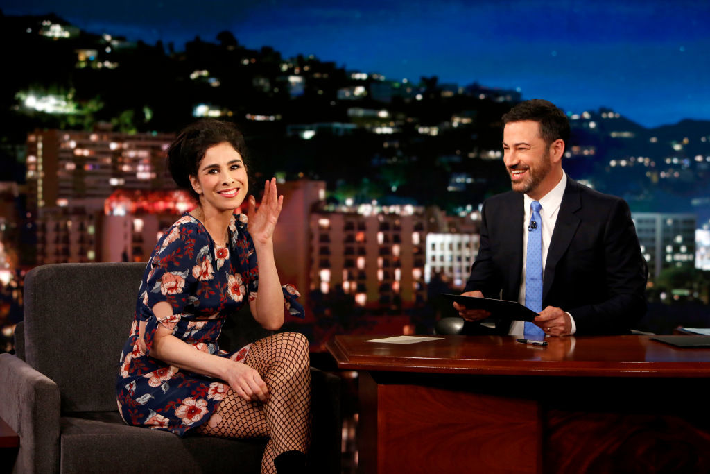 """Sarah Silverman and Jimmy Kimmel appear on """"Jimmy Kimmel Live!"""" in Hollywood on June 1, 2018."""