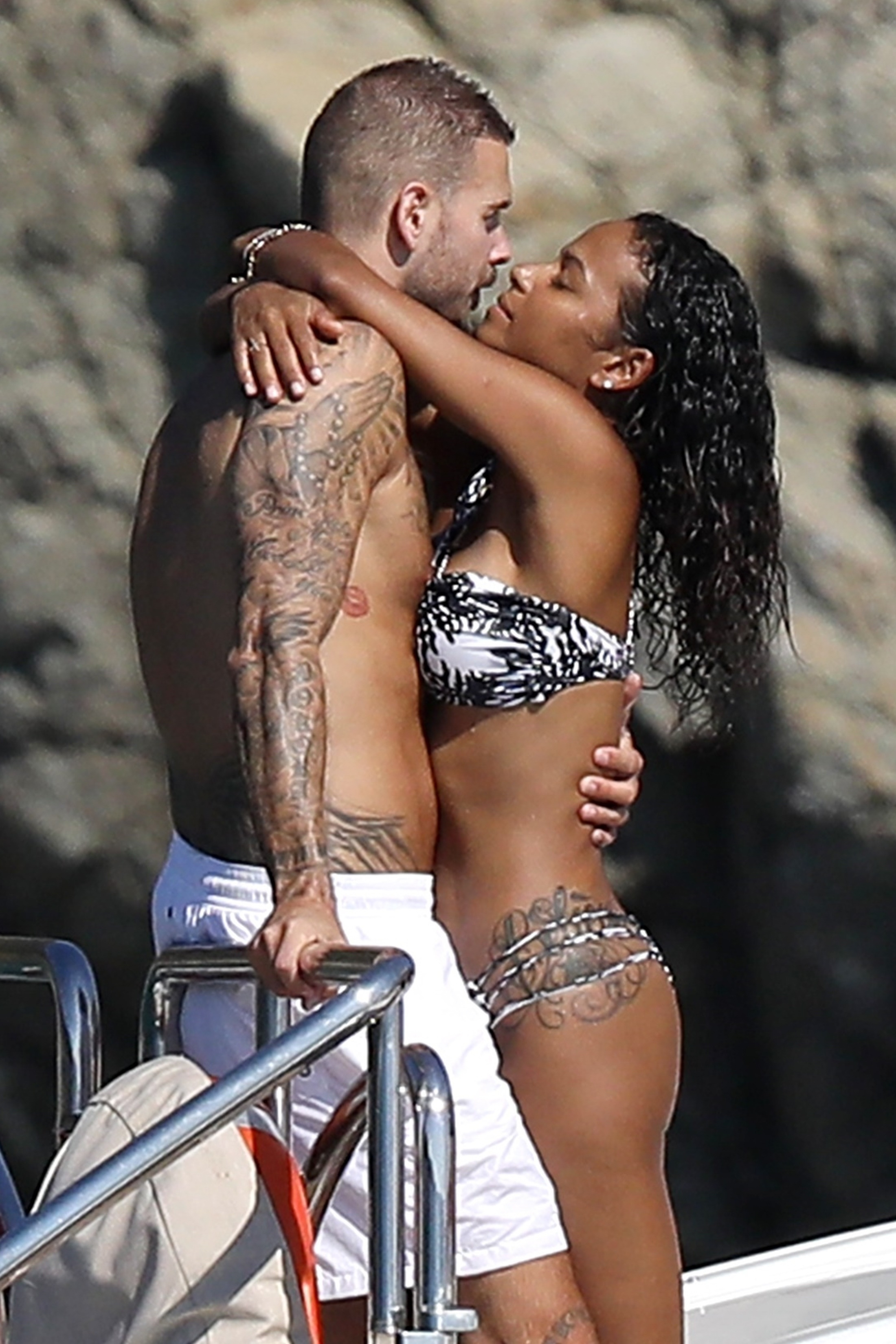 Matt Pokora and Christina Milian kept it sizzling while lounging on a yacht in St. Tropez, France on Aug. 30, 2018.