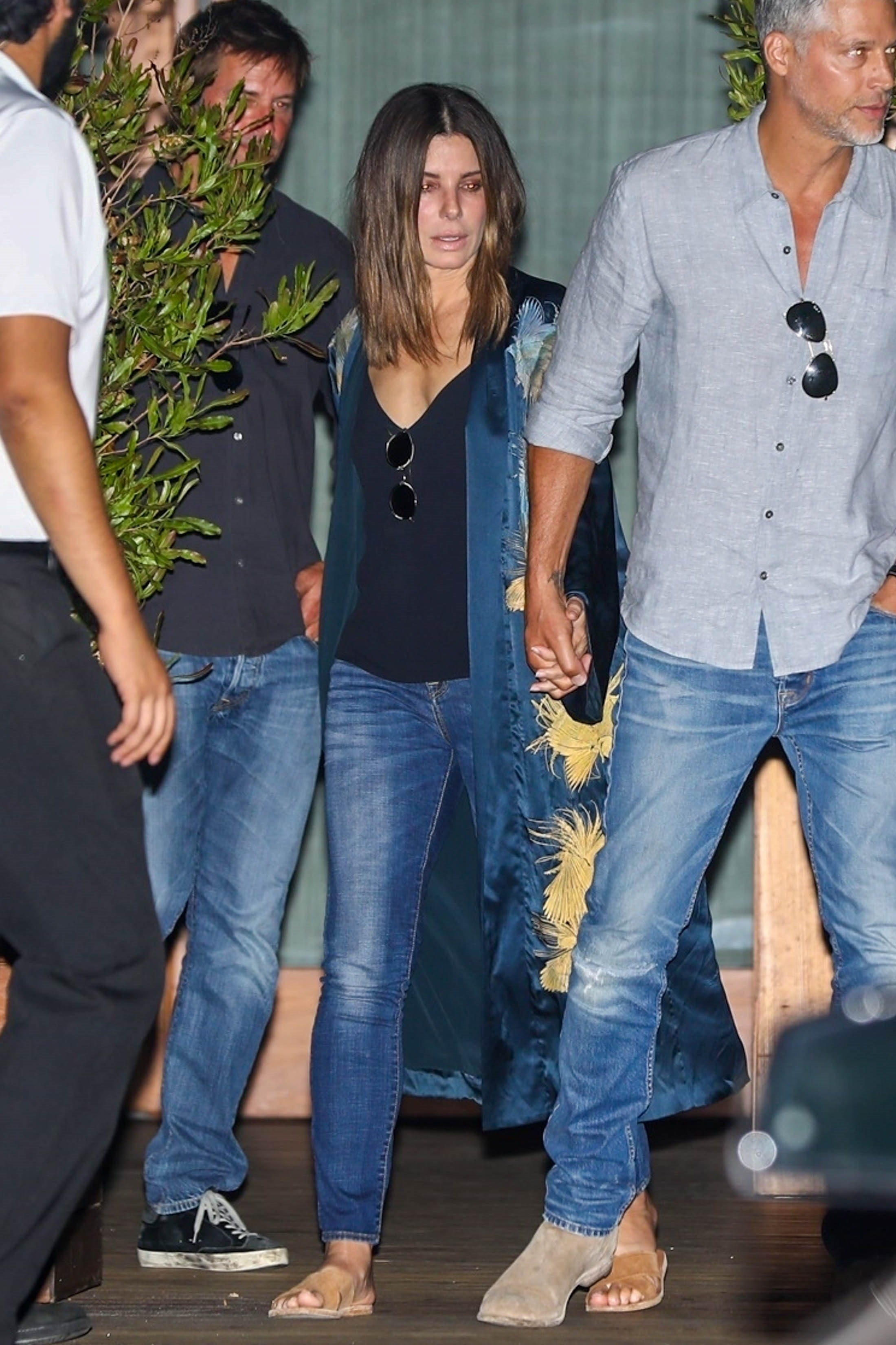 Sandra Bullock and her boyfriend Bryan Randall were seen holding hands as they left Soho House in Los Angeles on Sept. 1, 2018.