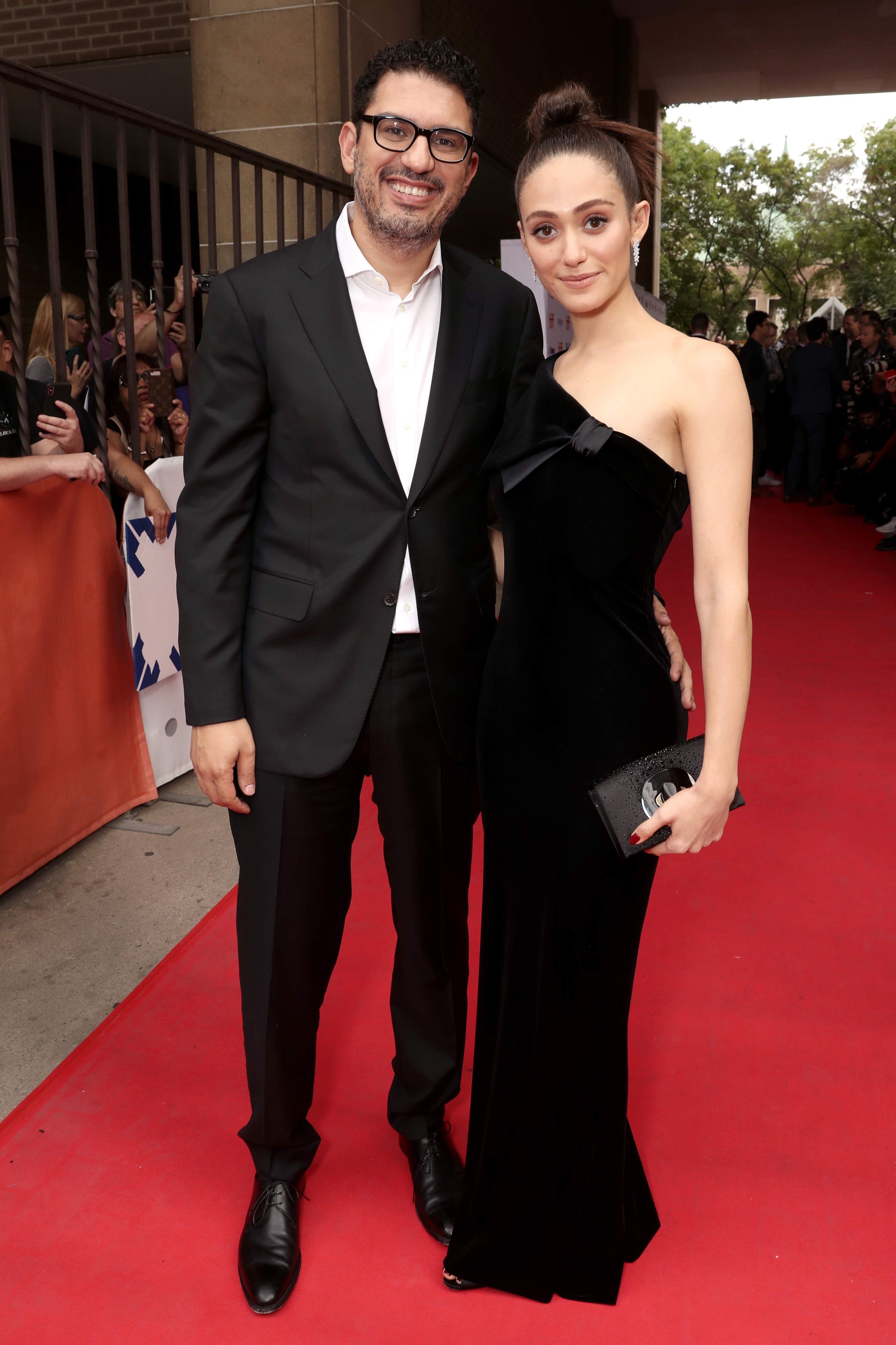 "Emmy Rossum and her husband, Sam Esmail, attend the Toronto International Film Festival premiere of ""Homecoming"" on Sept. 7, 2018."