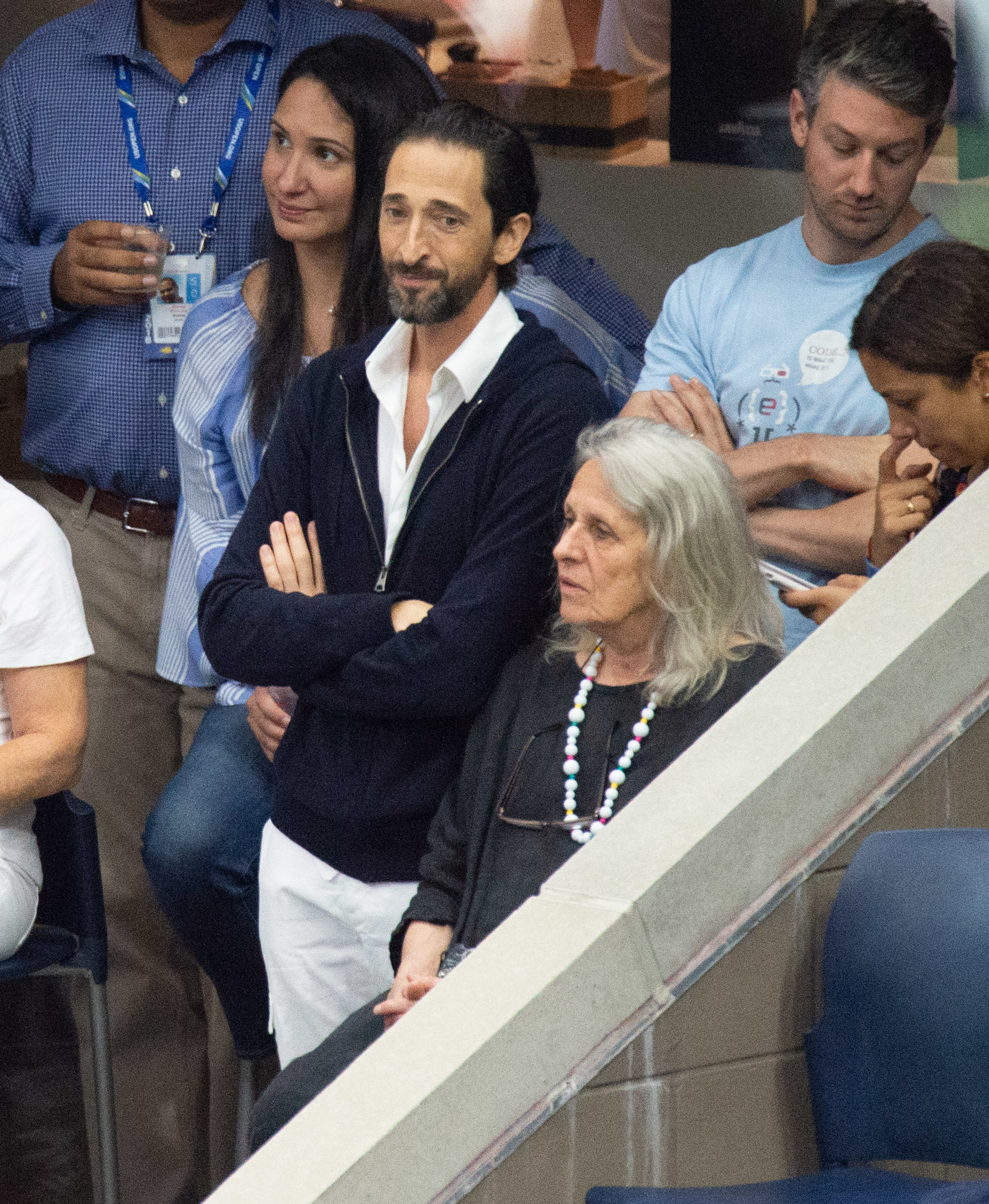 Adrien Brody and mom Sylvia Plachy attend Day 13 of the U.S. Open Tennis Championships at the USTA Tennis Center in Flushing, New York, on Sept. 8, 2018.