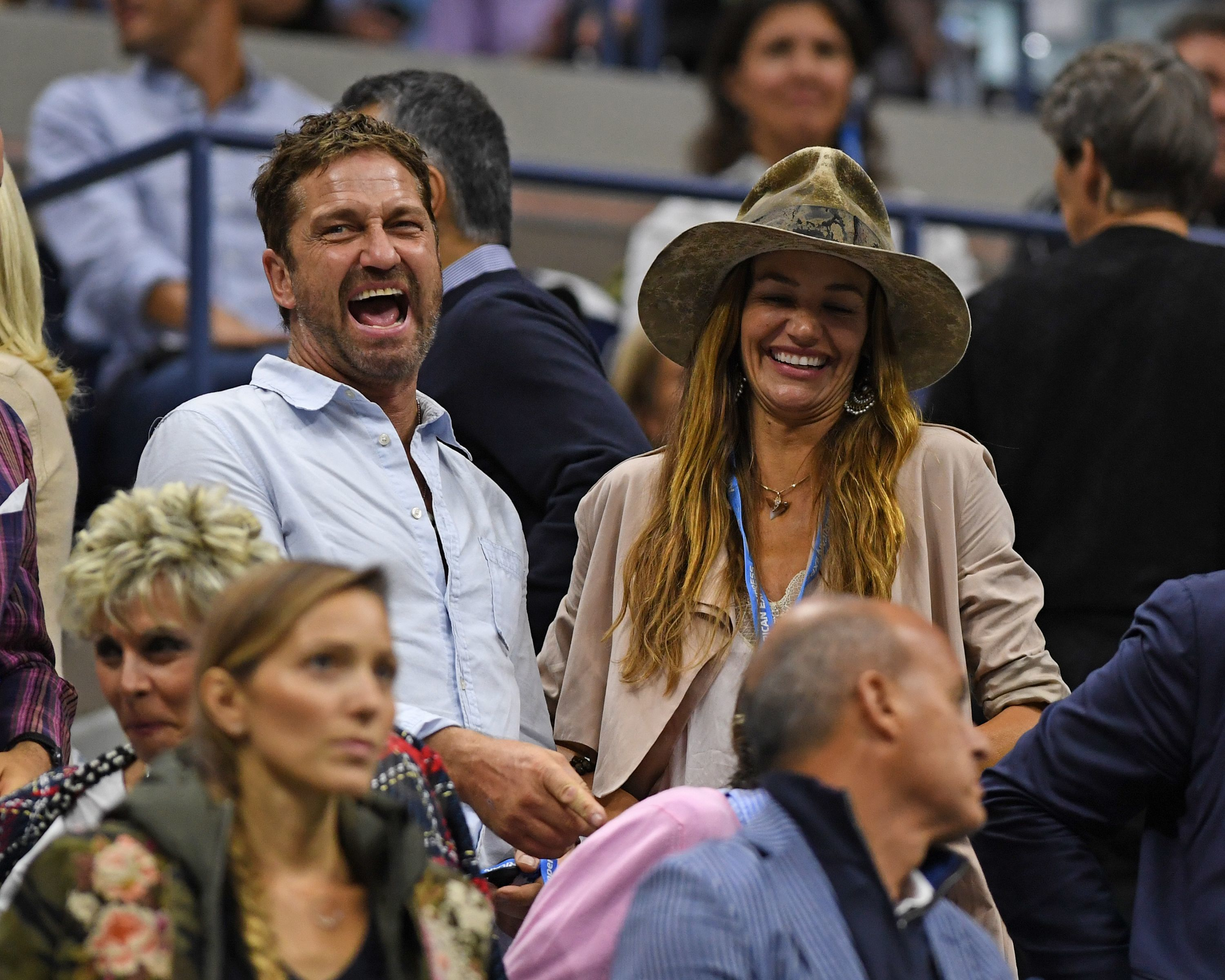 Gerard Butler and girlfriend Morgan Brown attend the U.S. Open at Arthur Ashe Stadium at the USTA Billie Jean King National Tennis Center in Flushing, New York, on Sept. 9, 2018.