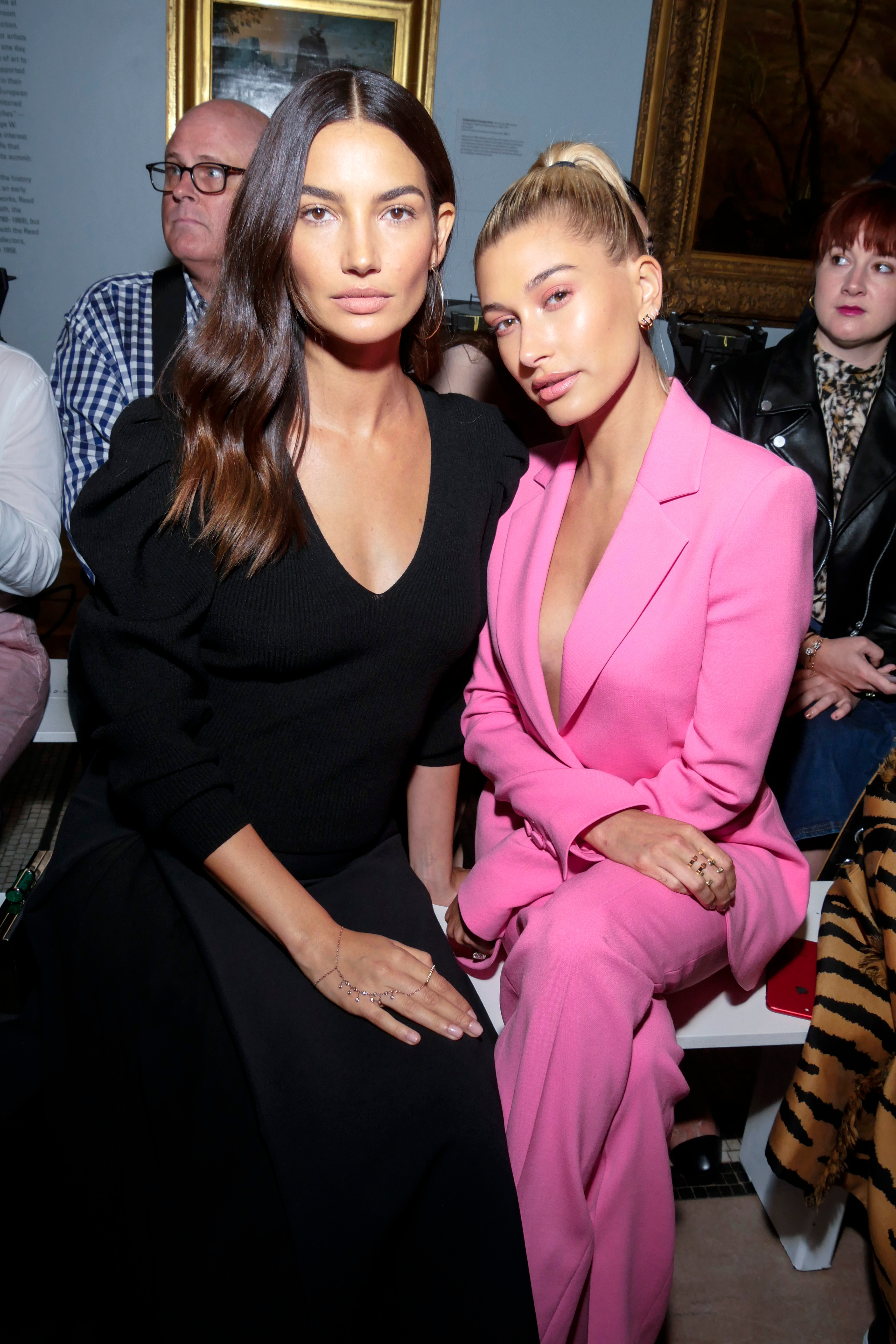 Lily Aldridge and Hailey Baldwin appear in the front row for the Carolina Herrera show for Spring/Summer 2019 at New York Fashion Week on Sept. 10, 2018.