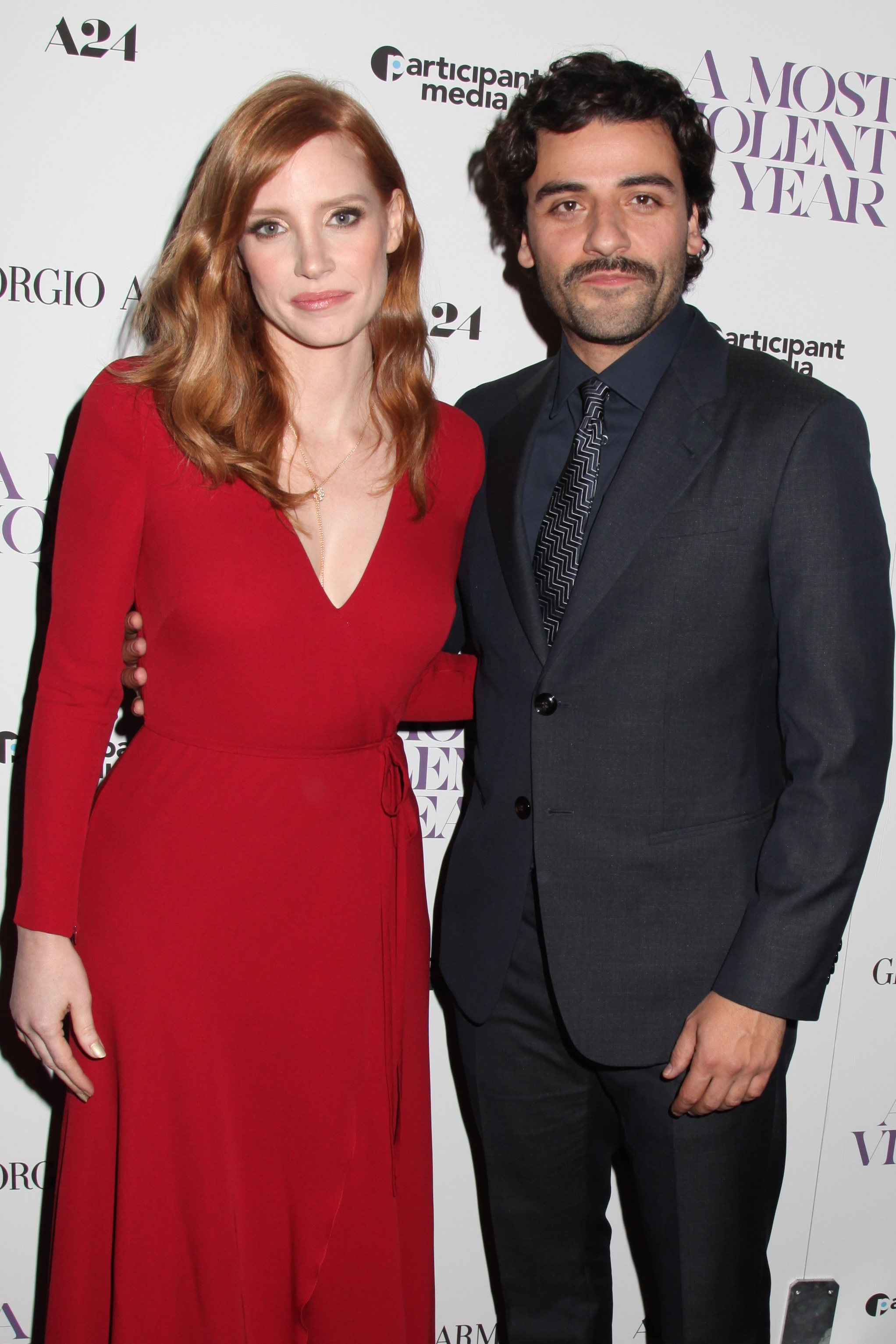 """Jessica Chastain and Oscar Isaac attend the premiere of """"A Most Violent Year"""" in New York City on Dec. 7, 2014."""