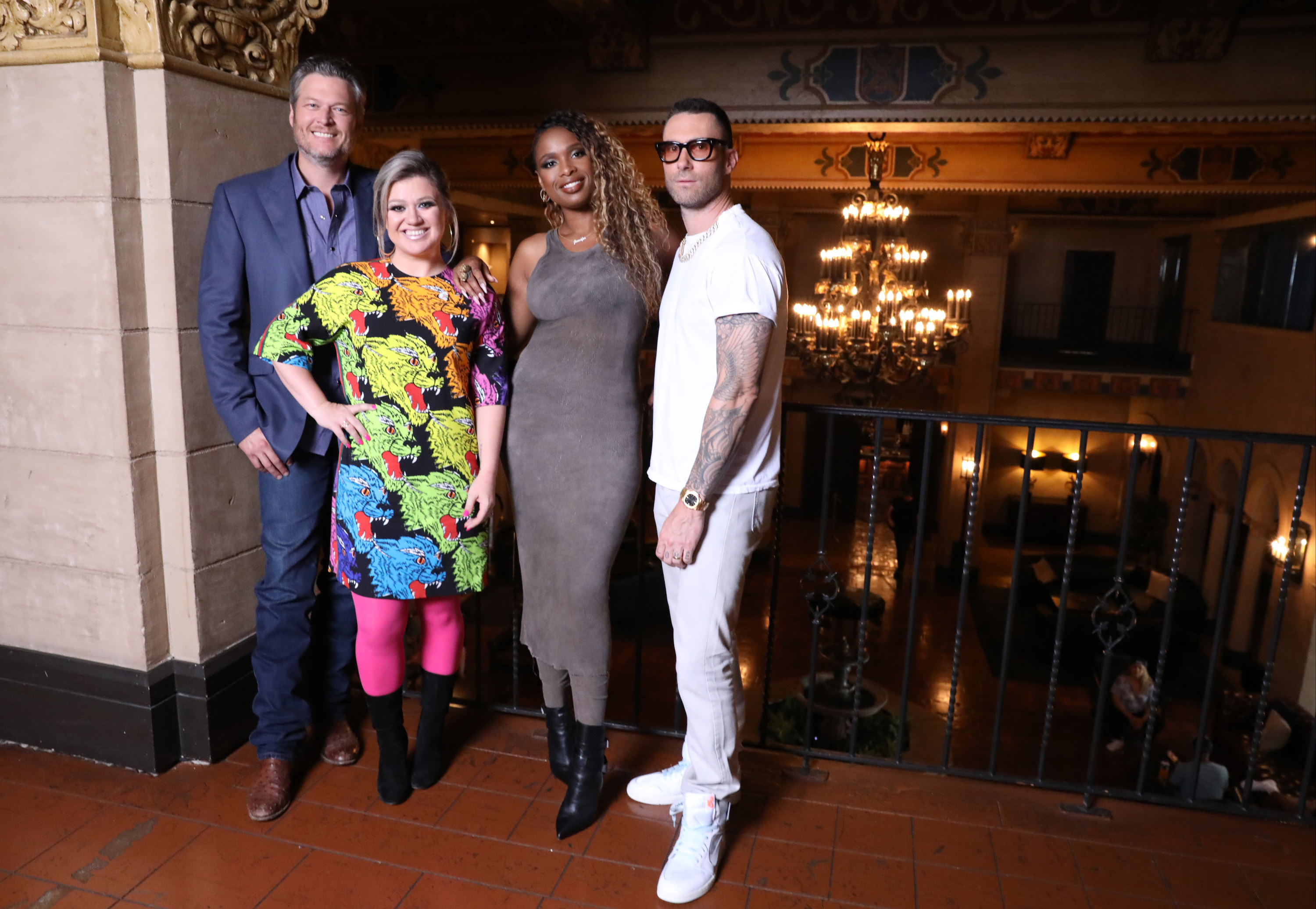 Blake Shelton, Kelly Clarkson, Jennifer Hudson and Adam Levine are pictured at the Hollywood Roosevelt Hotel in Hollywood, CA on Aug. 7, 2018.