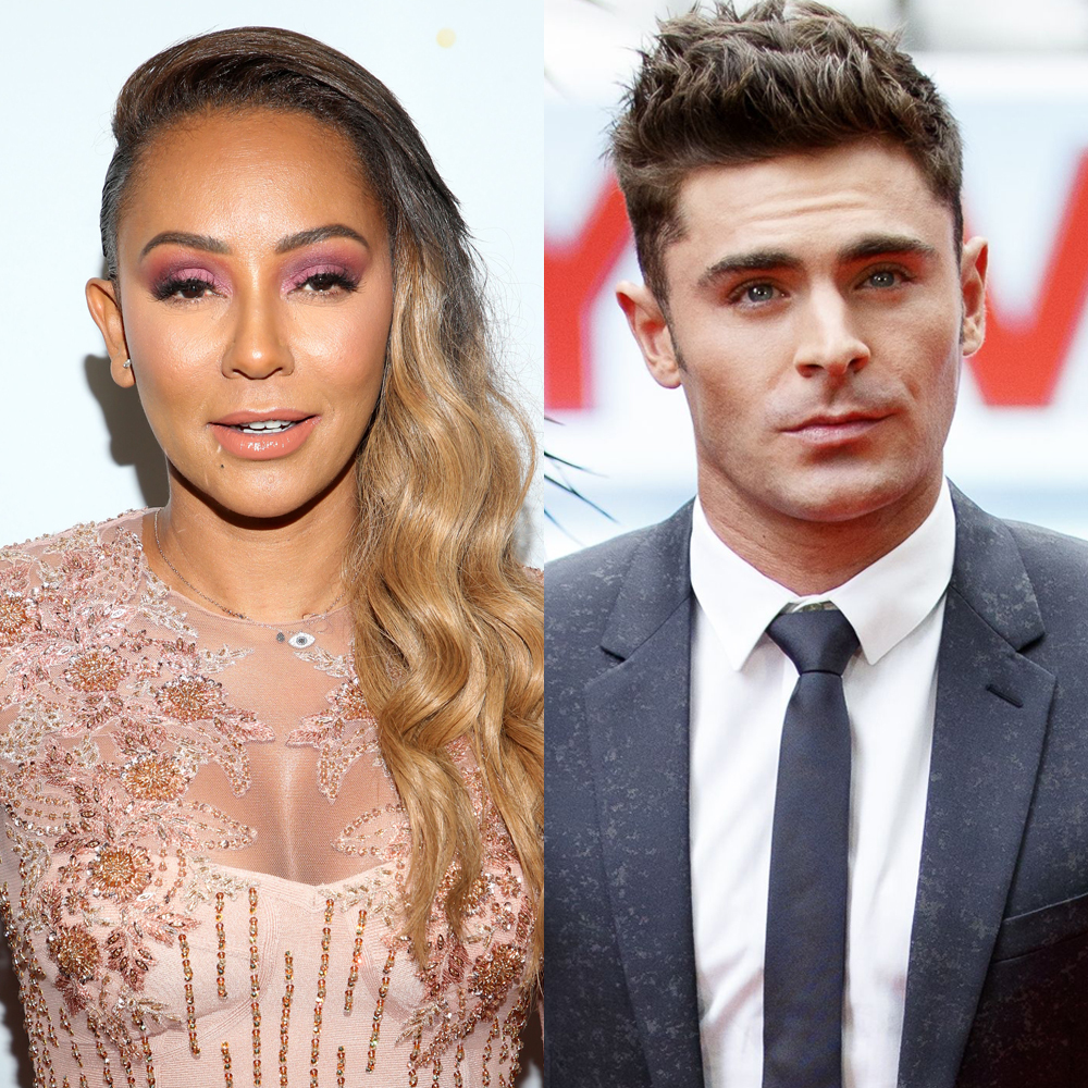 """Mel B attends the """"America's Got Talent"""" taping in Los Angeles on Aug. 28, 2018. Zac Efron attends a photo call for """"Baywatch"""" in Berlin on May 30, 2017."""