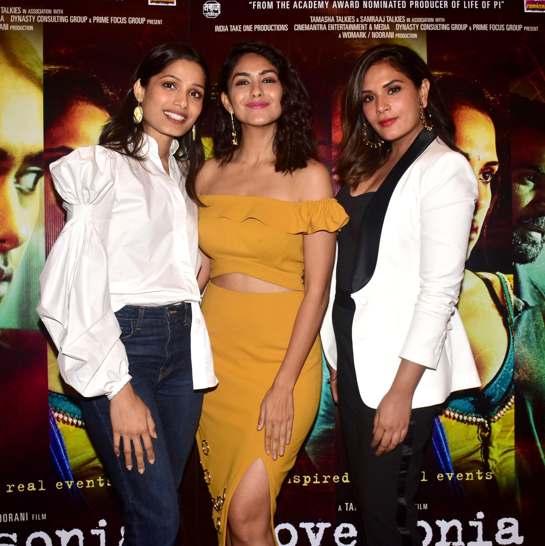 "Freida Pinto, Mrunal Thakur and Richa Chadda attend the ""Love Sonia"" photocall in Mumbai, India, on Sept. 12, 2018."