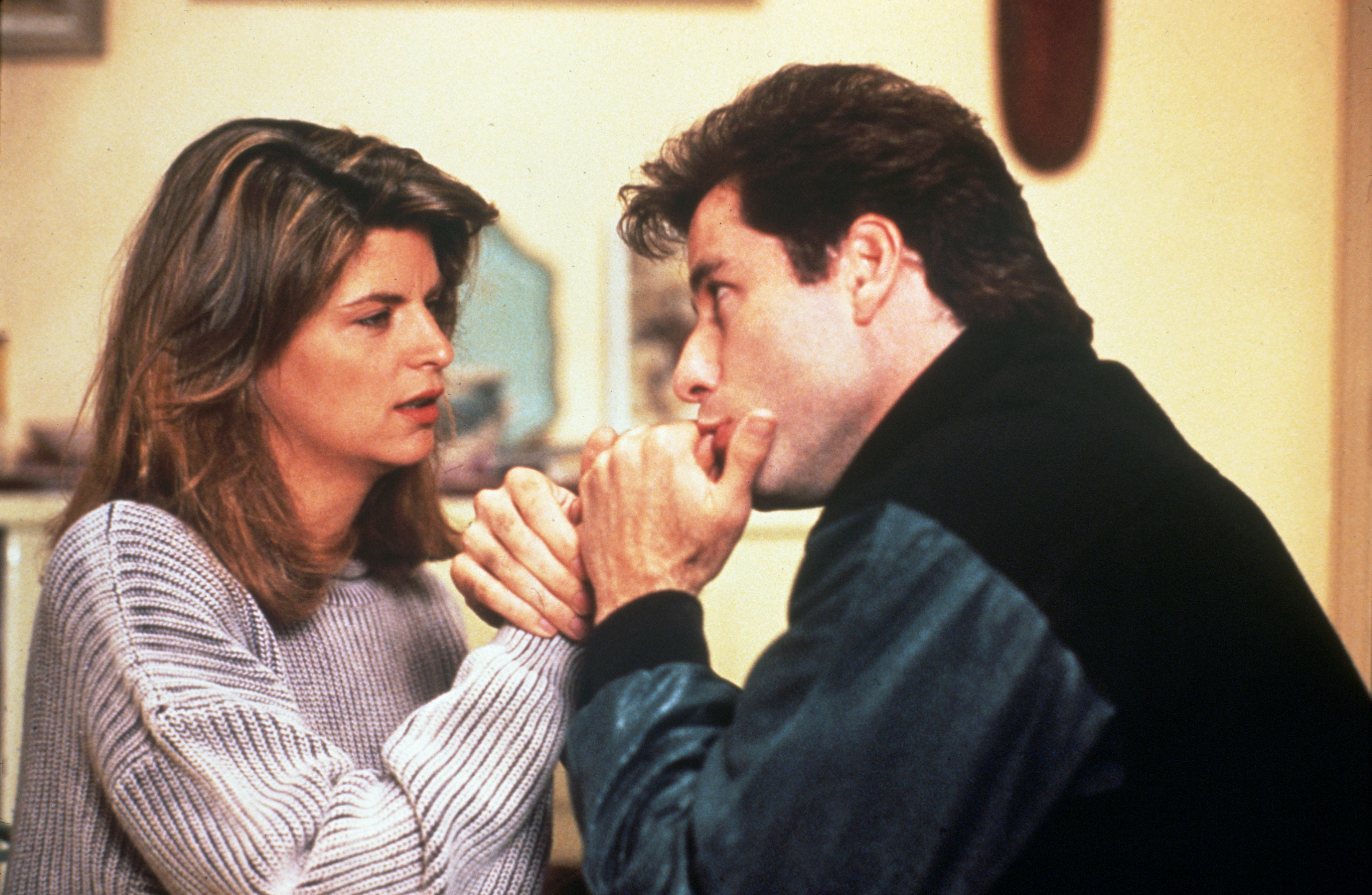 "Kirstie Alley and John Travolta appear in the 1989 comedy ""Look Who's Talking."""
