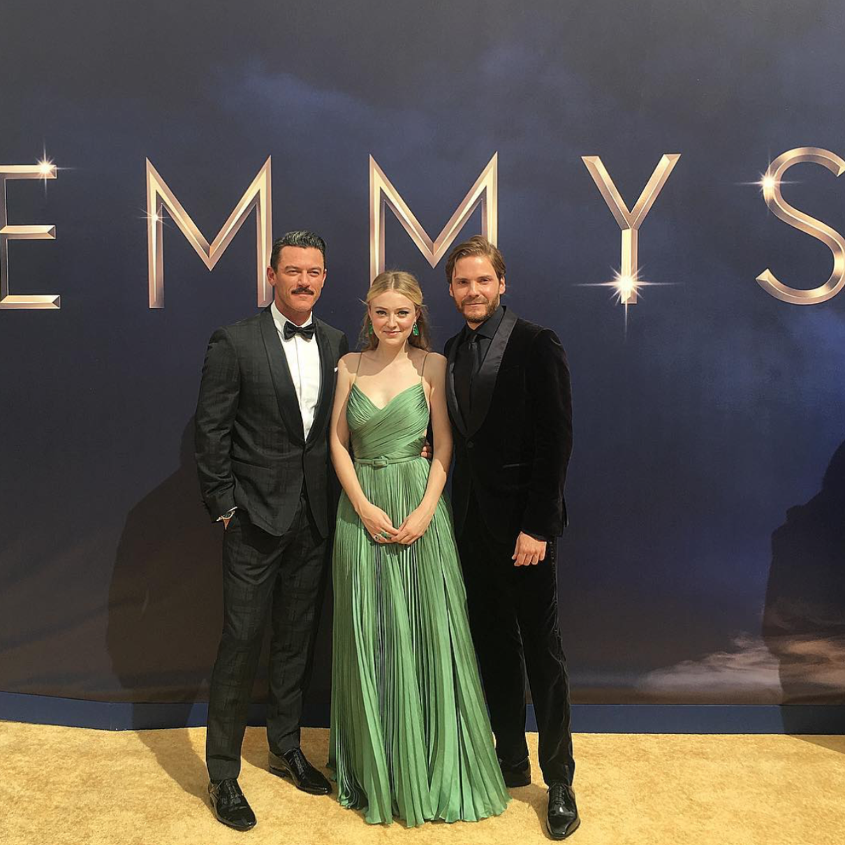 """""""My Gang @dakotafanning @thedanielbruhl @suspensetnt #thealienist #emmys""""   Luke Evans, who posted this snap on Sept. 17, 2018."""