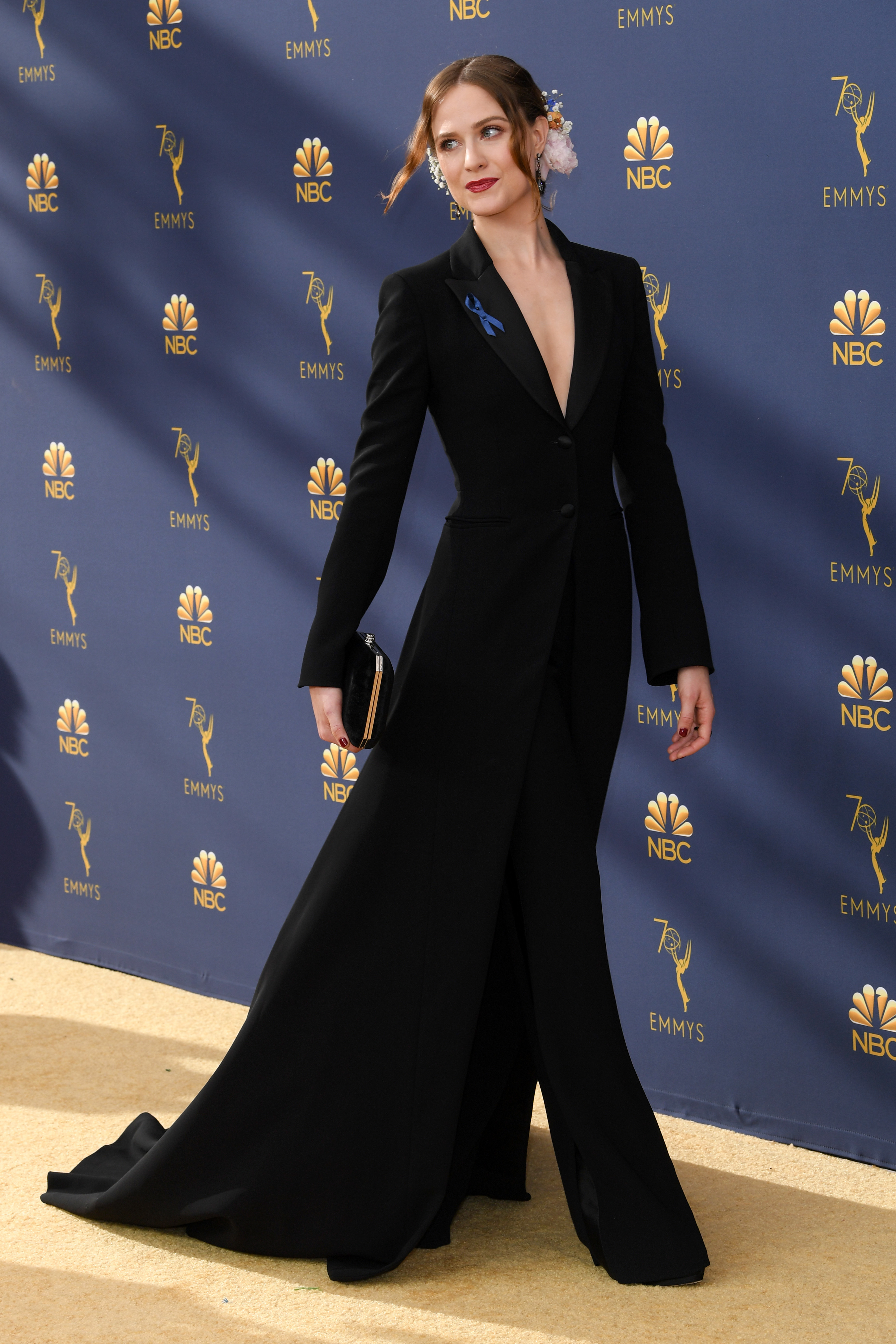 Evan Rachel Wood attends the 70th Primetime Emmy Awards in Los Angeles on Sept. 17, 2018.