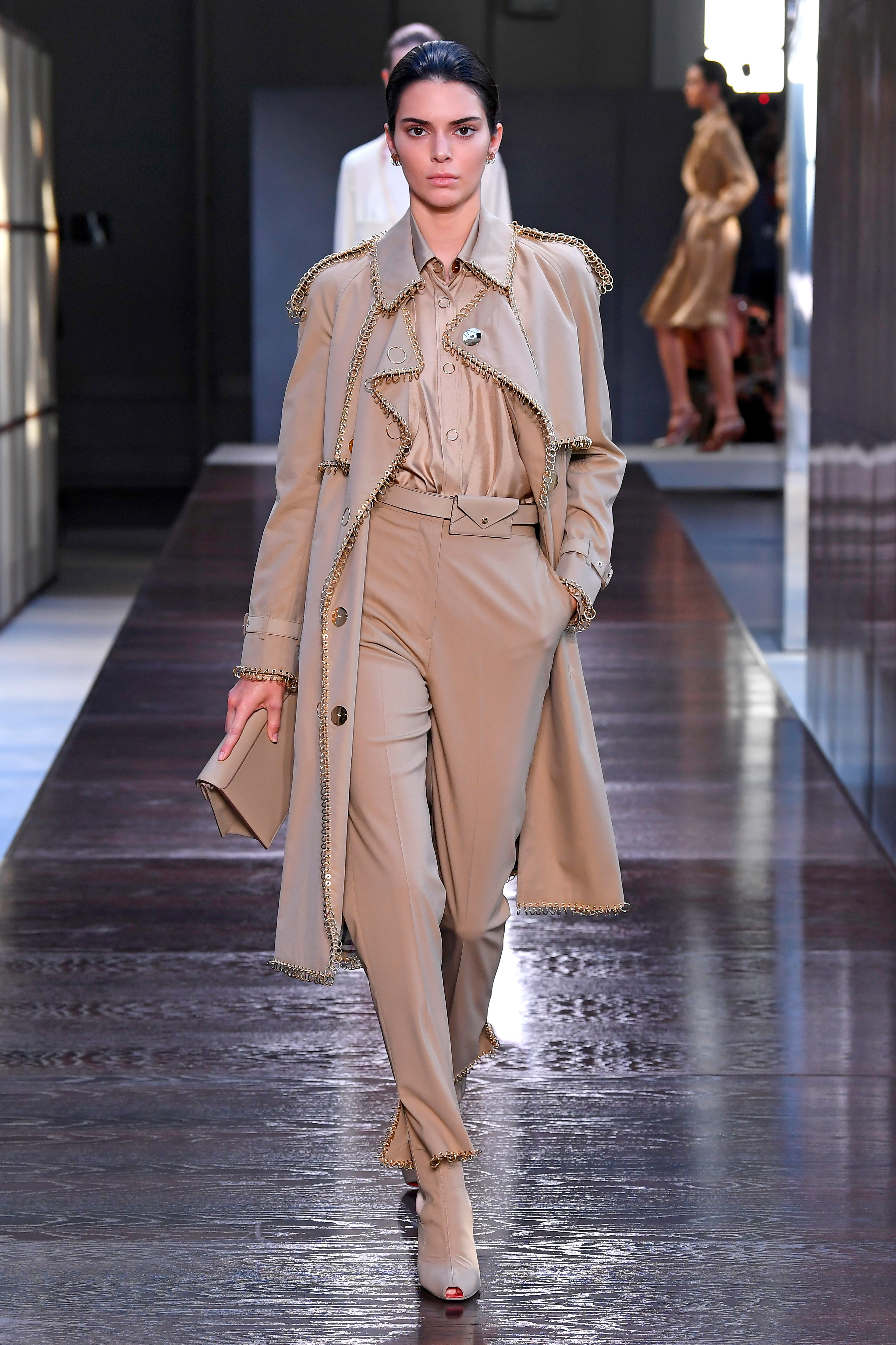 Kendall Jenner appears on the catwalk for the Burberry show at London Fashion Week on Sept. 17, 2018.
