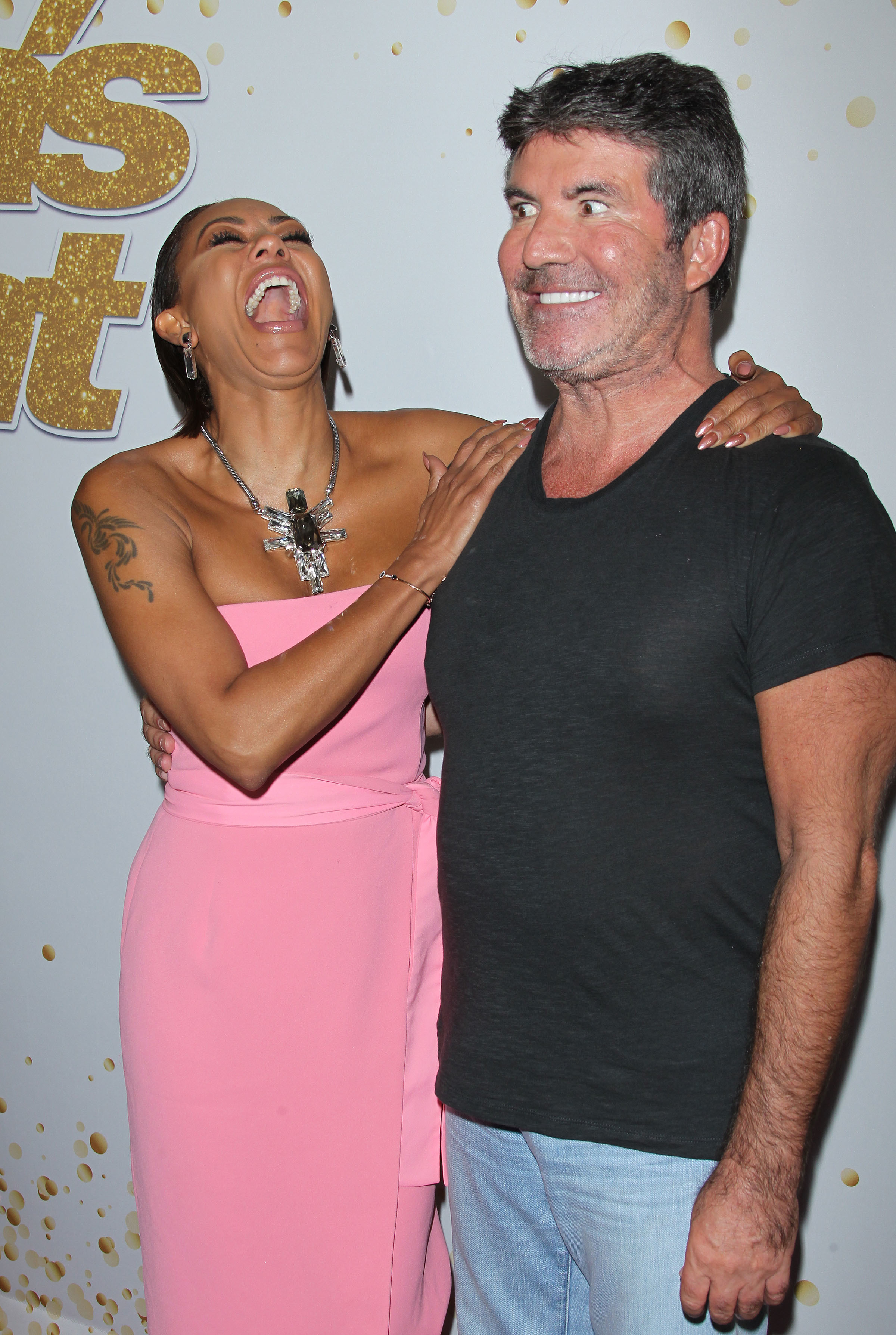 Mel B and Simon Cowell attend the America's Got Talent Live Show in Los Angeles on Sept. 11, 2018.
