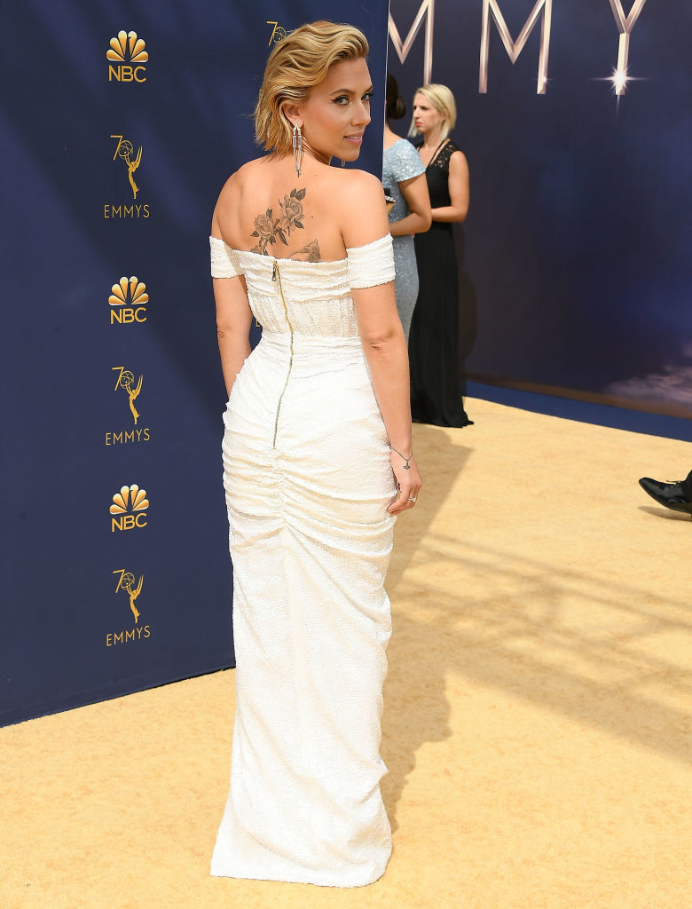 Scarlett Johansson arrives at the 70th Emmy Awards on September 17, 2018 in Los Angeles.