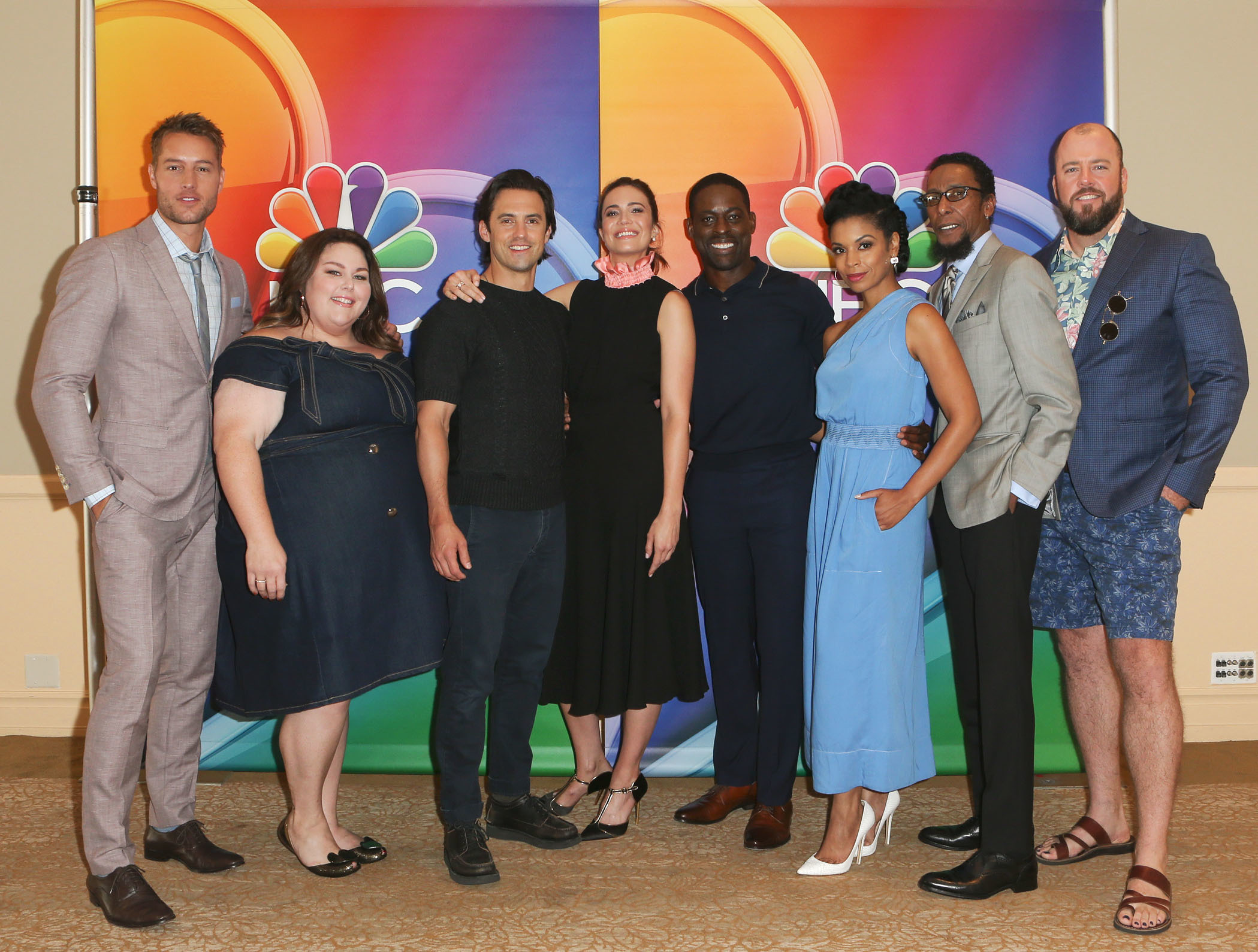 Justin Hartley, Chrissy Metz, Milo Ventimiglia, Mandy Moore, Sterling K. Brown, Susan Kelechi Watson, Ron Cephas Jones and Chris Sullivan attend the TCA Summer Press Tour in Los Angeles on Aug. 3, 2017.