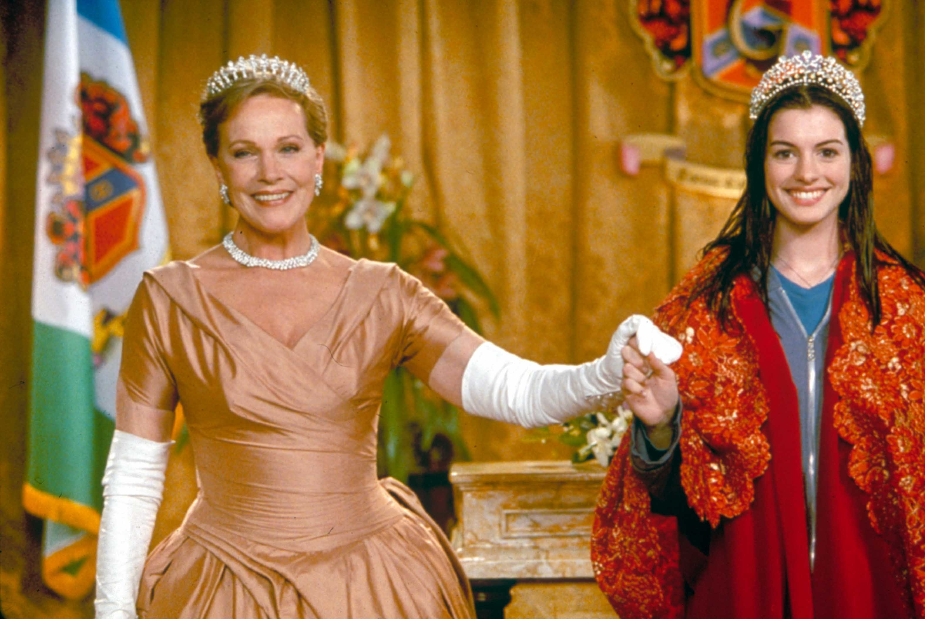 "Julie Andrews and Anne Hathaway star in the 2001 movie ""The Princess Diaries."""