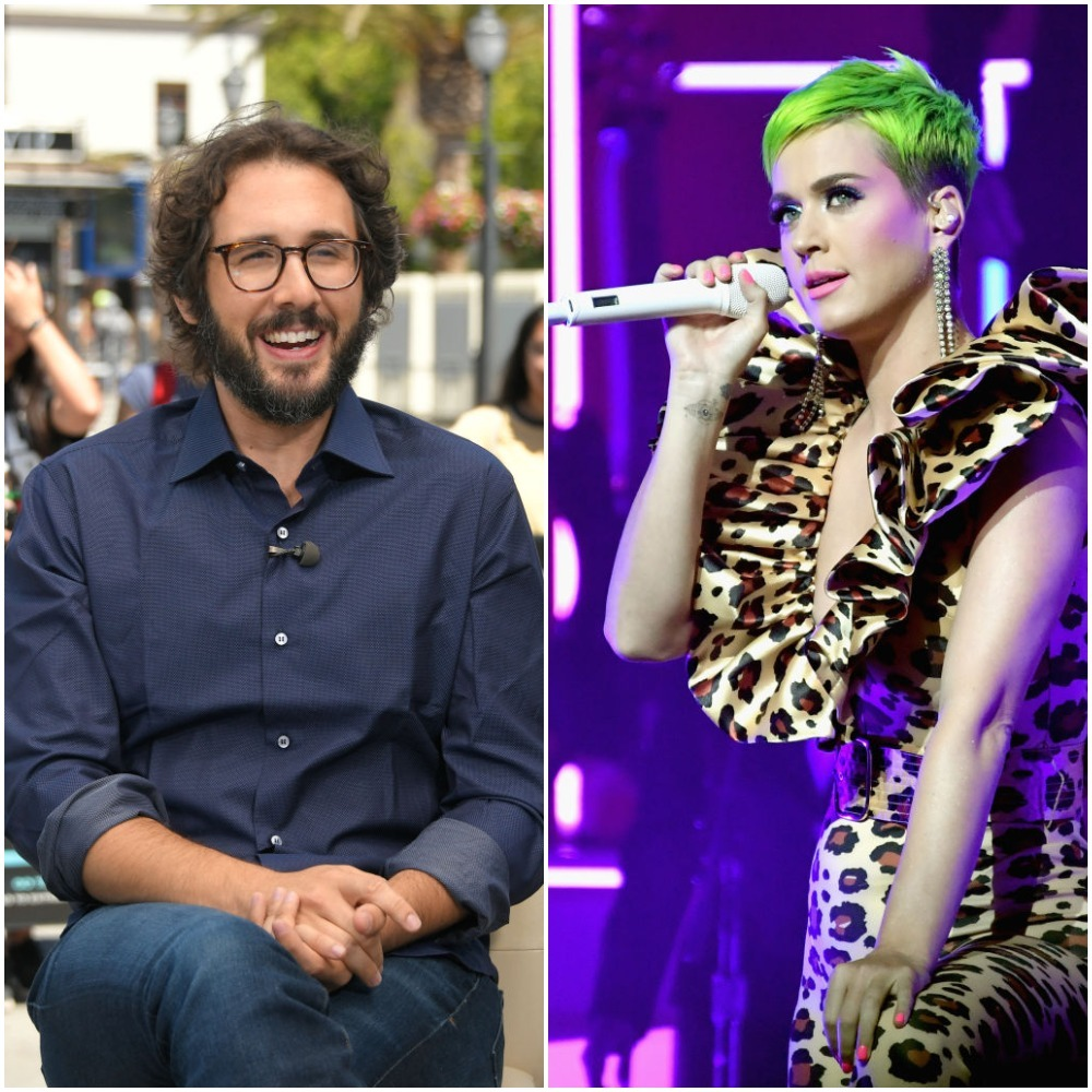 Josh Groban visits 'Extra' at Universal Studios Hollywood in Los Angeles on August 29, 2018; Katy Perry performs onstage for Citi Sound Vault at The Theatre at Ace Hotel in Los Angeles on Sept. 10, 2018.