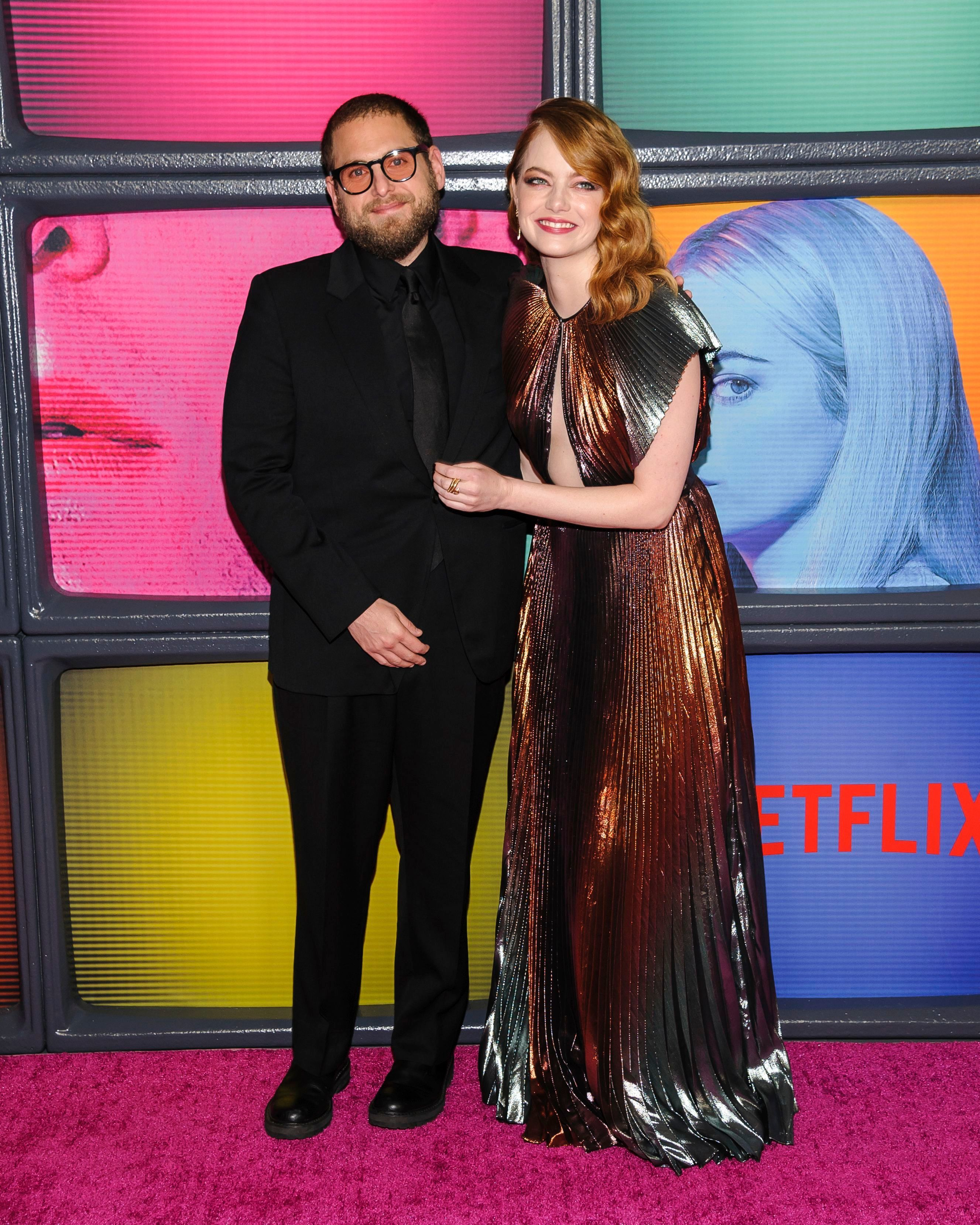"""Jonah Hill and Emma Stone attend Netflix's """"Maniac"""" season one premiere at Center415 in New York City on Sept. 20, 2018."""