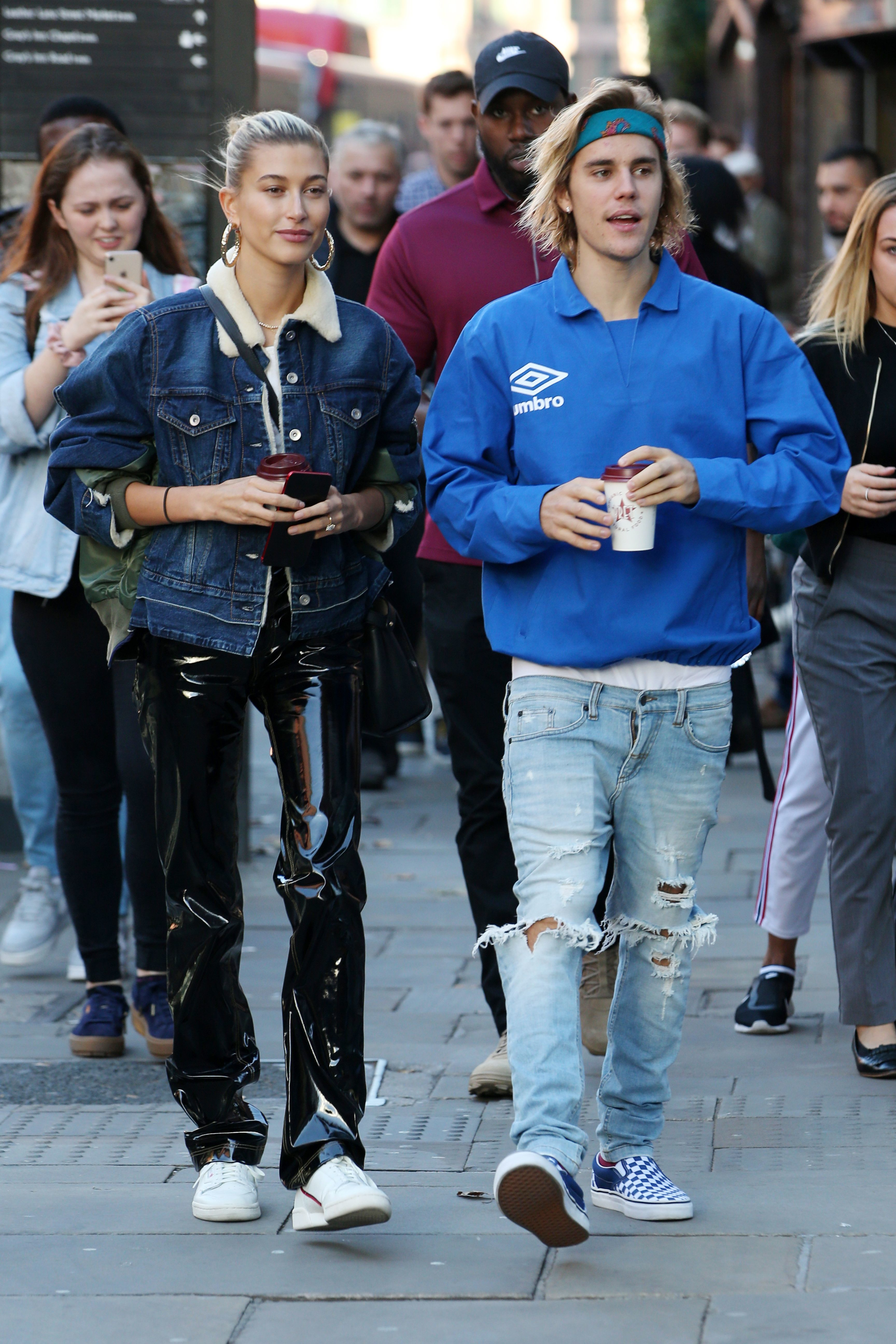 Hailey Baldwin and Justin Bieber step out in London on Sept. 17, 2018.