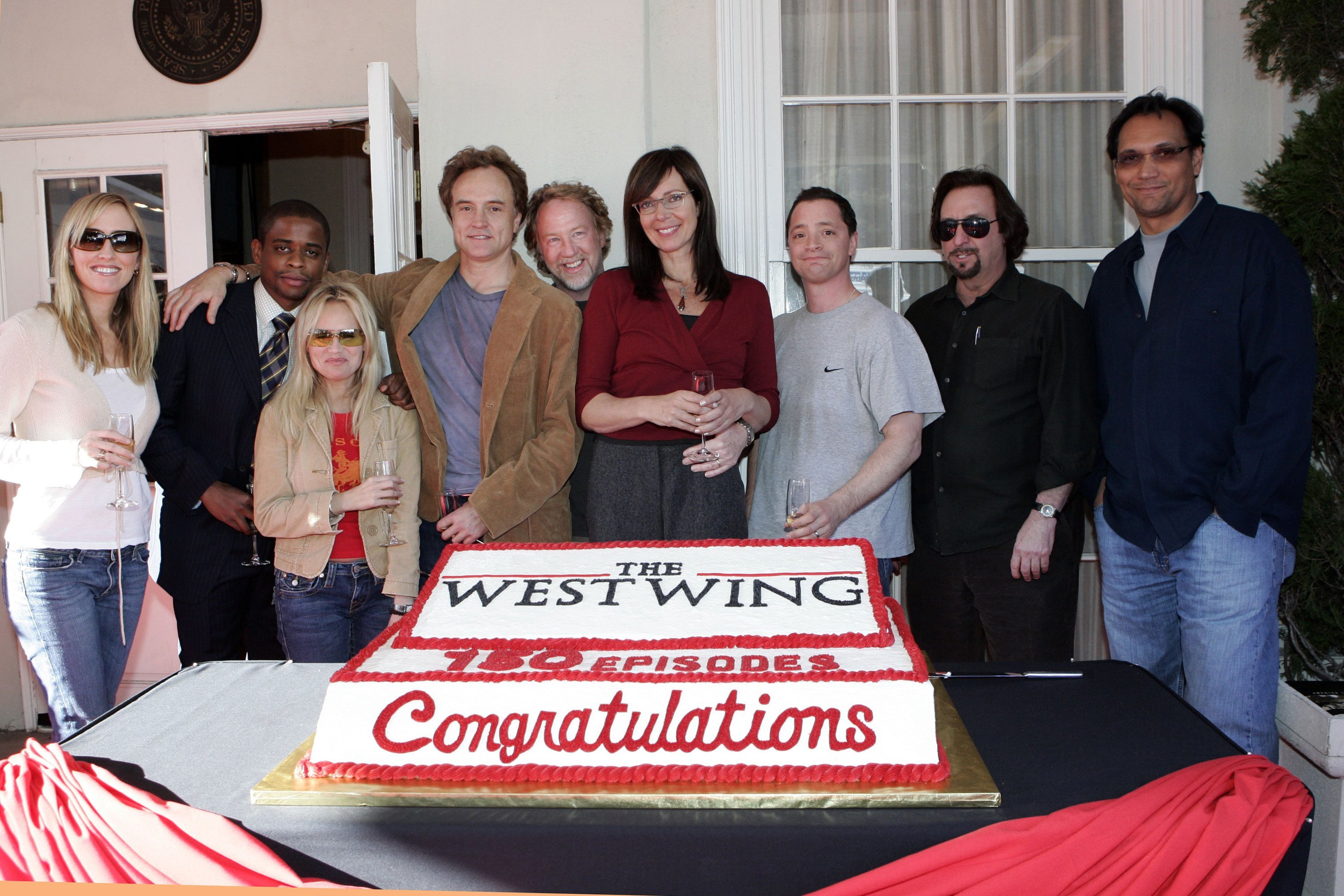 """The cast of """"The West Wing"""" celebrates their 150th episode, which aired on April 2, 2006."""