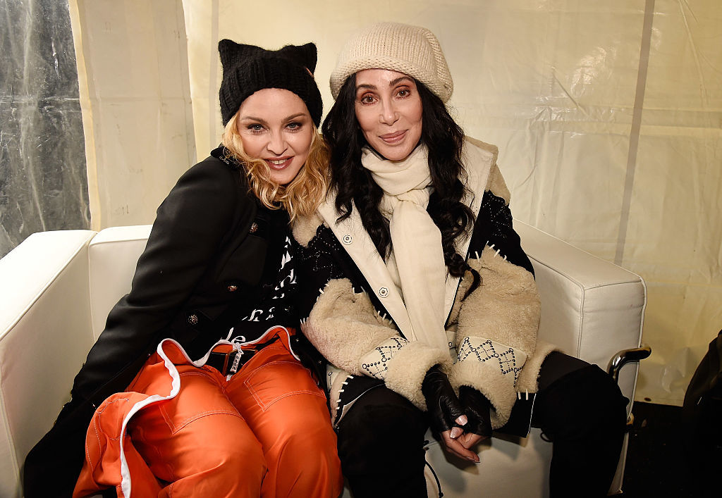 Madonna (L) and Cher attend the rally at the Women's March on Washington in Washington, D.C., on Jan. 21, 2017.