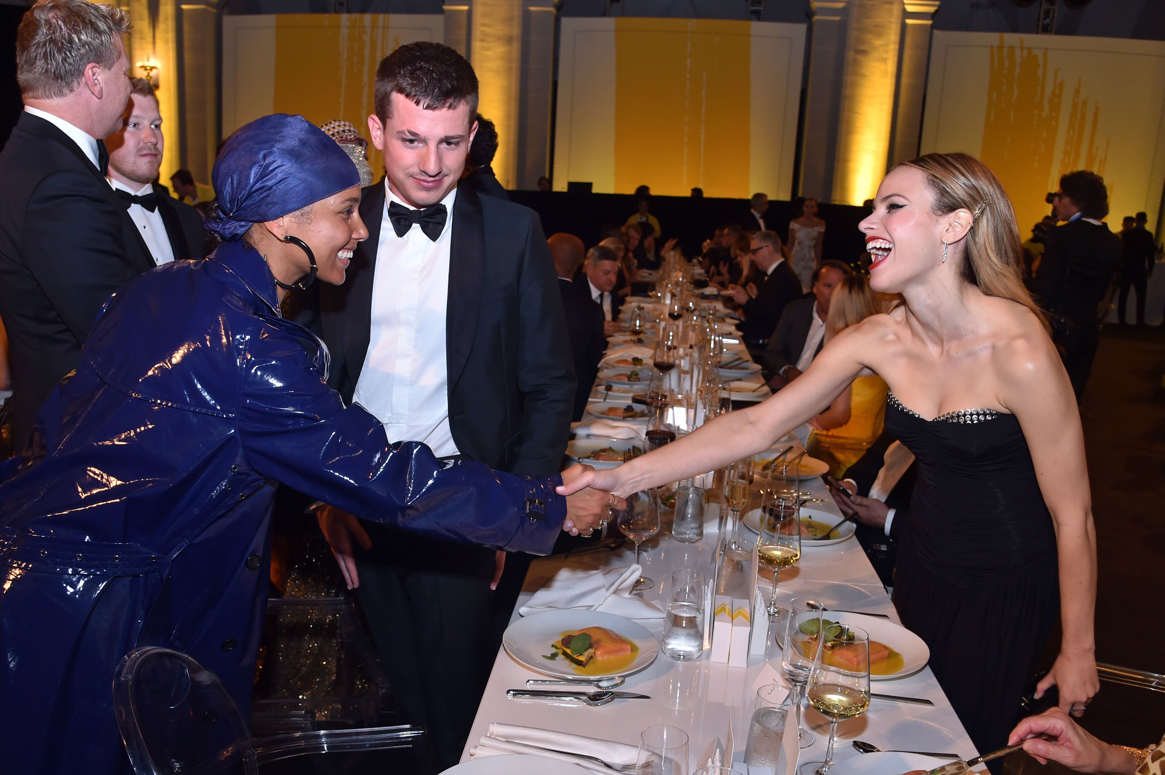 Alicia Keys, Charlie Puth and Halston Sage attend the Yellow Ball in New York City on Sept. 10, 2018.