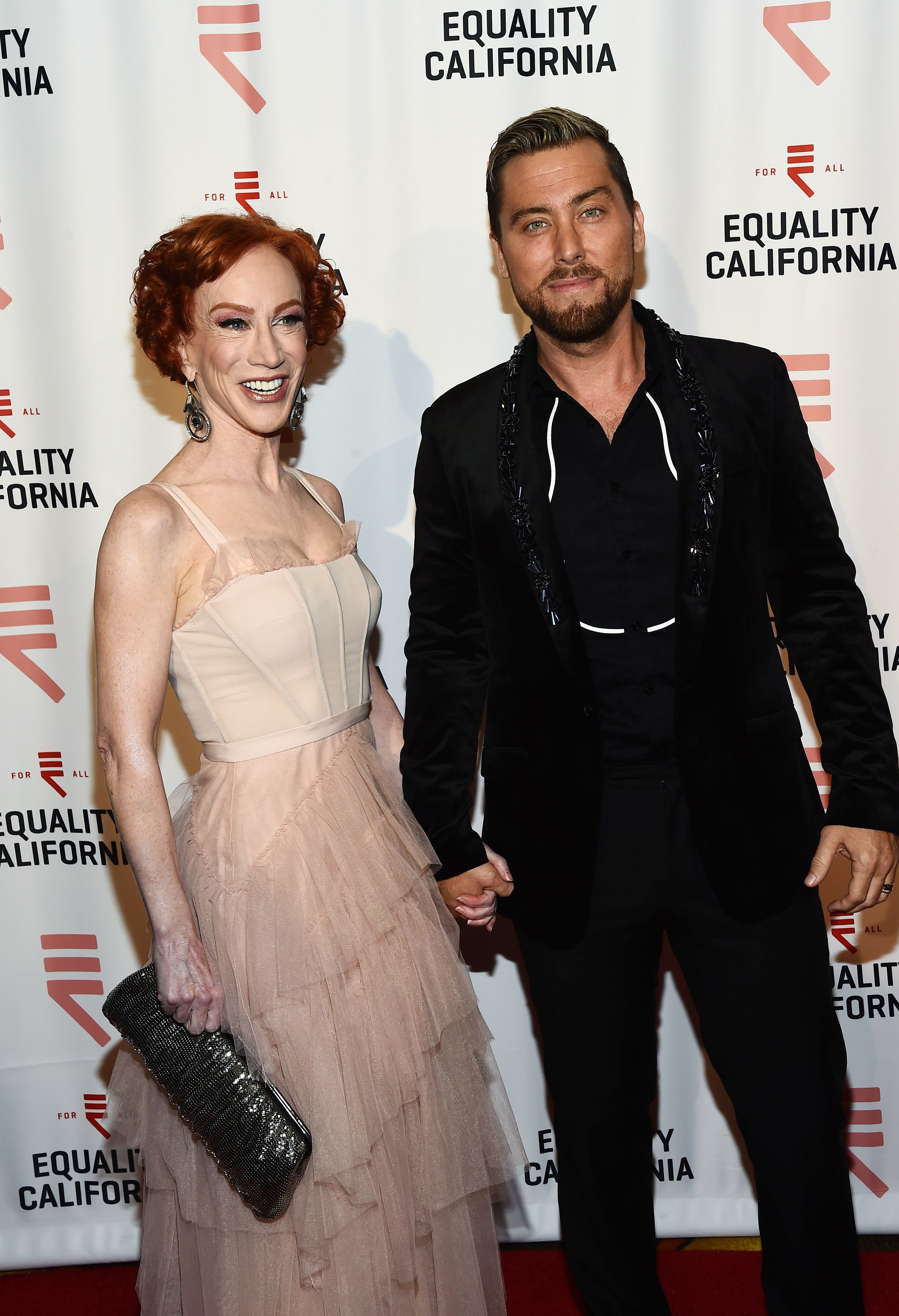 Kathy Griffin and Lance Bass attend the Los Angeles Equality Awards on Sept. 29, 2018.