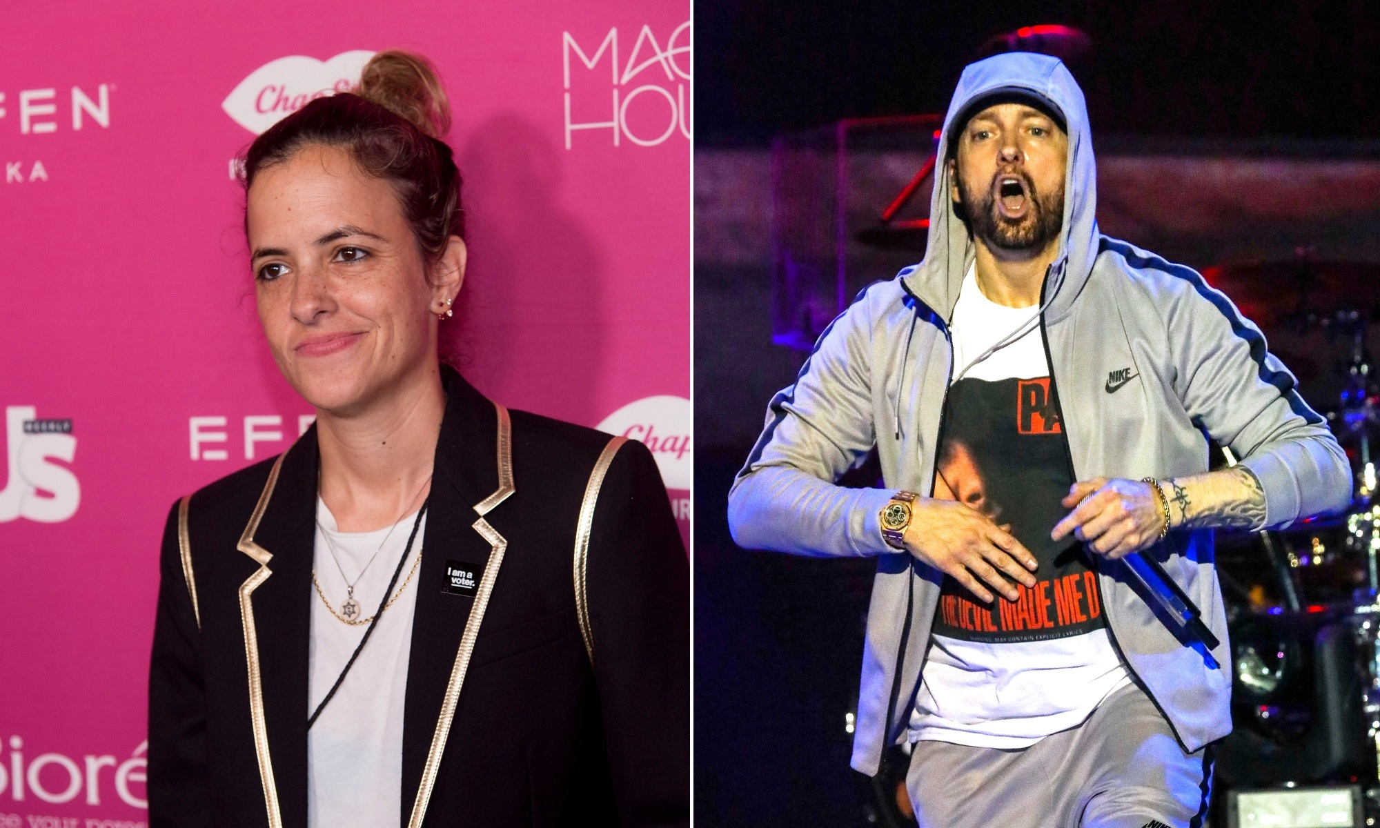 In this composite photo, DJ Samantha Ronson, left, attends Us Weekly's Most Stylish New Yorkers of 2018 party at Magic Hour Rooftop Bar and Lounge on in New York on Sept. 12, 2018 and Eminem, right, performs at the Bonnaroo Music and Arts Festival on day 3 in Manchester on June 9, 2018.
