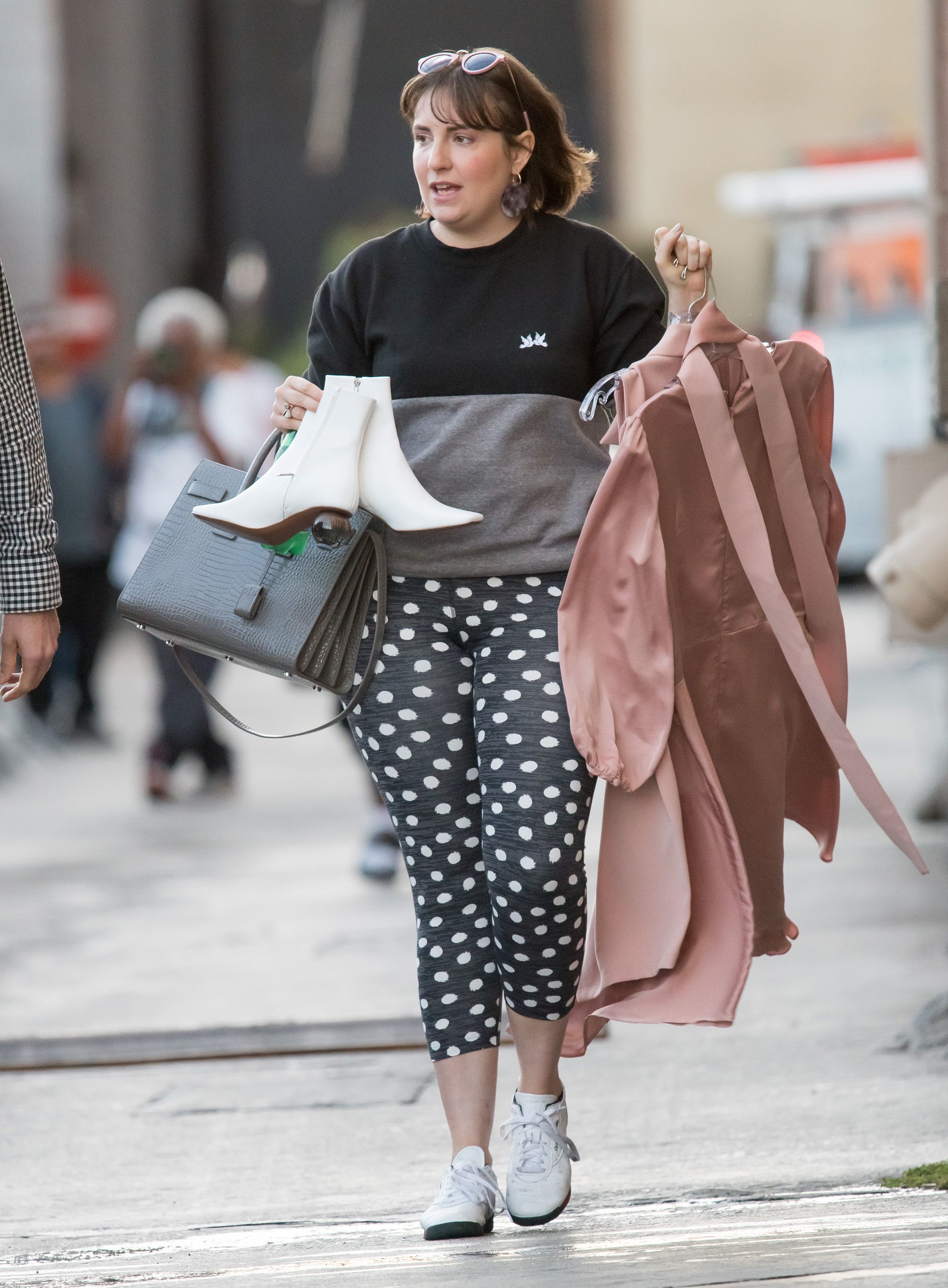 "Lena Dunham stops by ""Jimmy Kimmel Live"" in Los Angeles on Oct. 4, 2018."