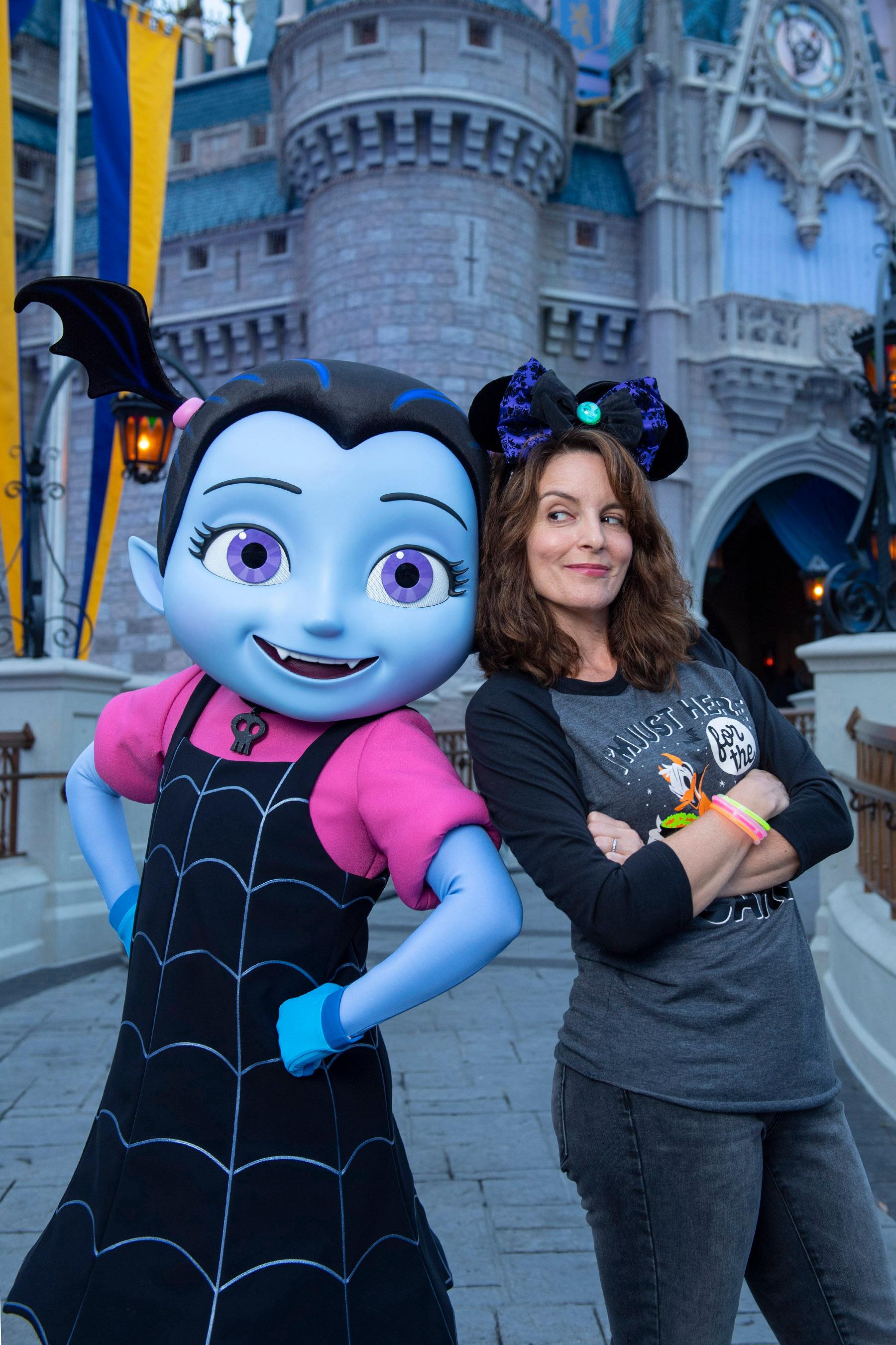 Tina Fey poses with Disney Junior character Vampirina at Walt Disney World in Florida on Oct. 8, 2018.