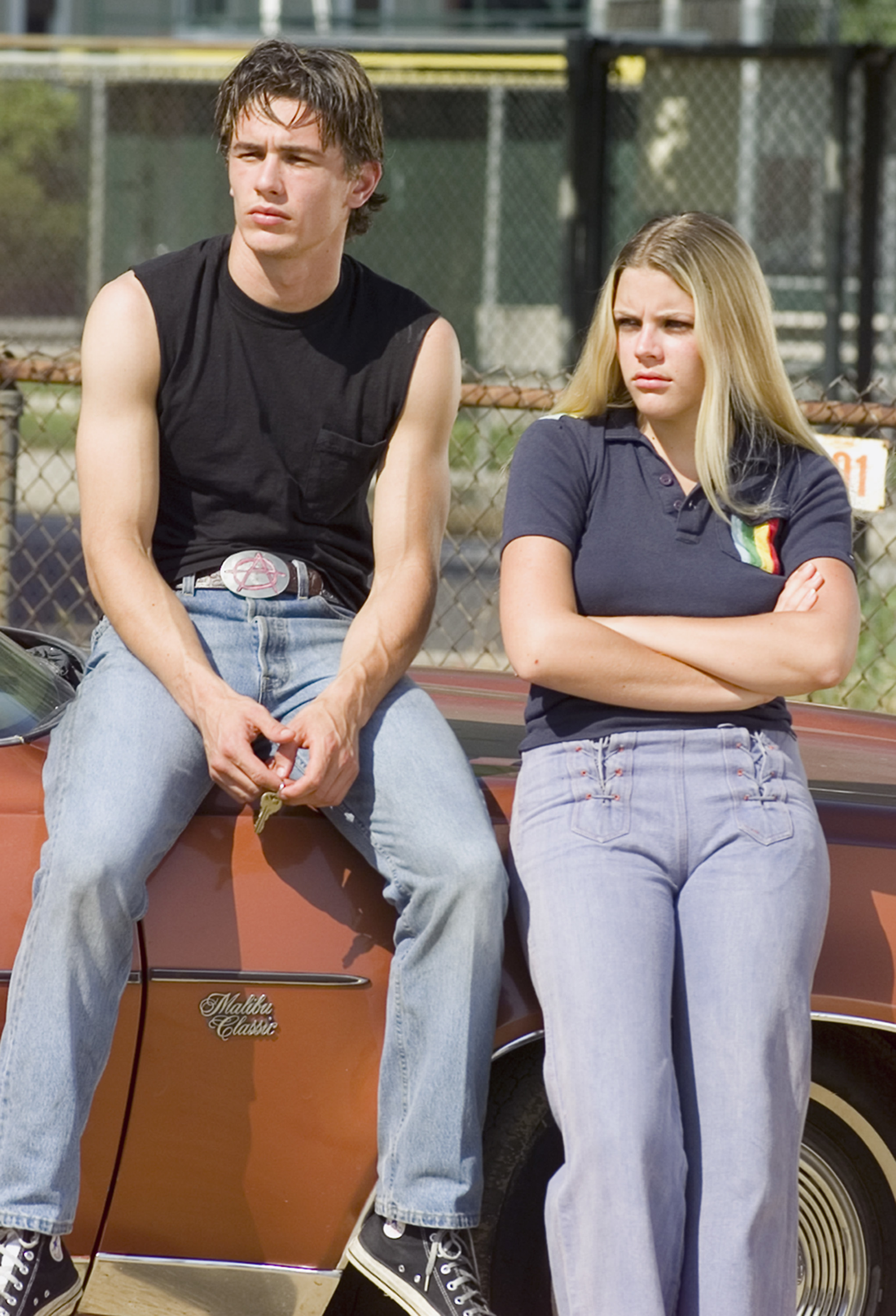 """James Franco as Daniel Desario and Busy Philipps as Kim Kelly on NBC's """"Freaks and Geeks"""" in 1999."""