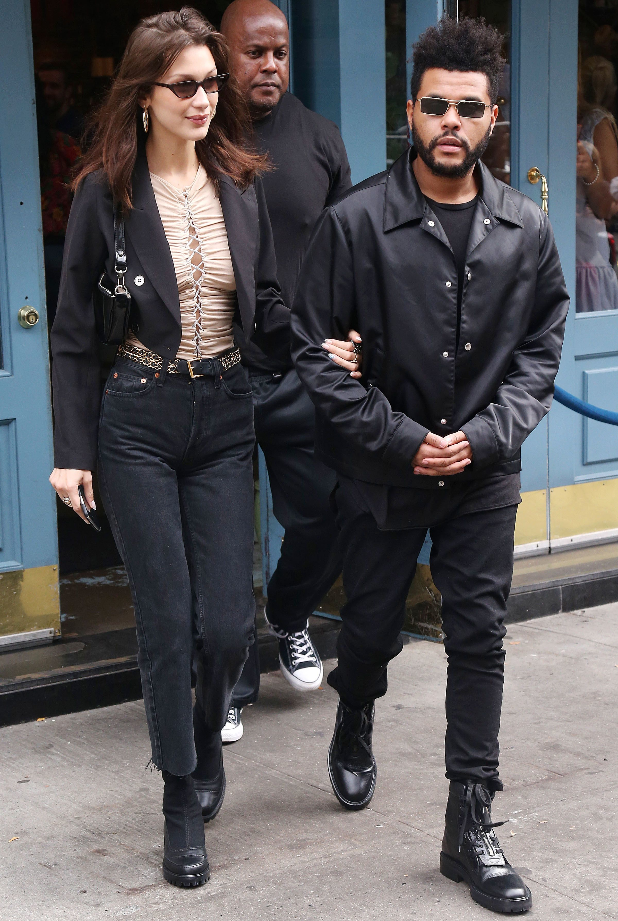 Bella Hadid and boyfriend The Weeknd leave brunch together in New York City on her 22nd birthday, Oct. 9, 2018.