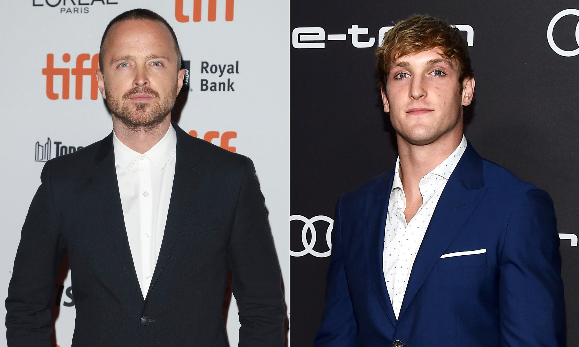 """In this composite pic, actor Aaron Paul, left, attends the """"American Woman"""" premiere at the Toronto Film Festival on Sept. 9, 2018 and YouTube star Logan Paul, right, attends the Audi Pre Emmy party in Los Angeles on Sept. 14, 2018."""
