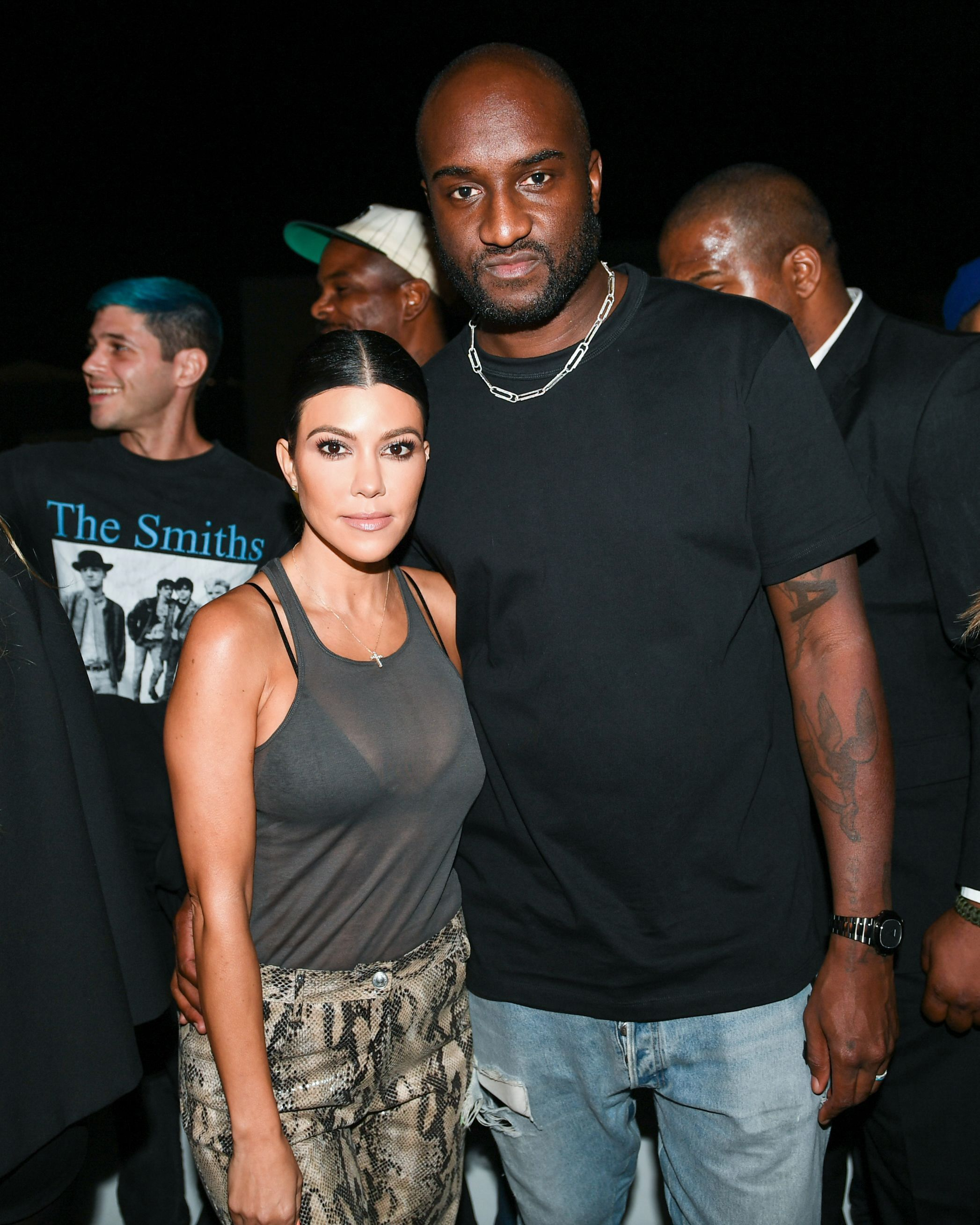 Kourtney Kardashian and Virgil Abloh attend the Murakami & Abloh America Too party at Gagosian Beverly Hills in Los Angeles on Oct. 10, 2018.