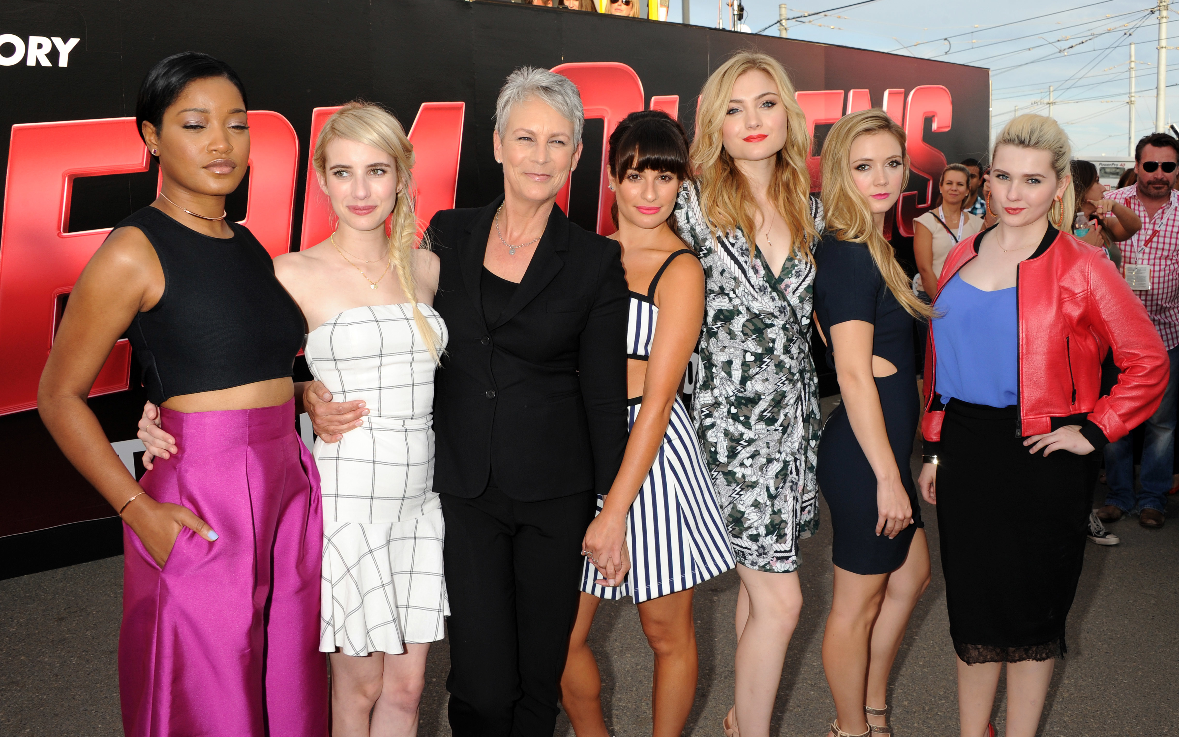 """Keke Palmer, Emma Roberts, Lea Michele, Skyler Samuels, Abigail Breslin, Billie Lourd and Jamie Lee Curtis attend the """"Scream Queens"""" photocall during Comic Con in San Diego on July 11, 2015."""