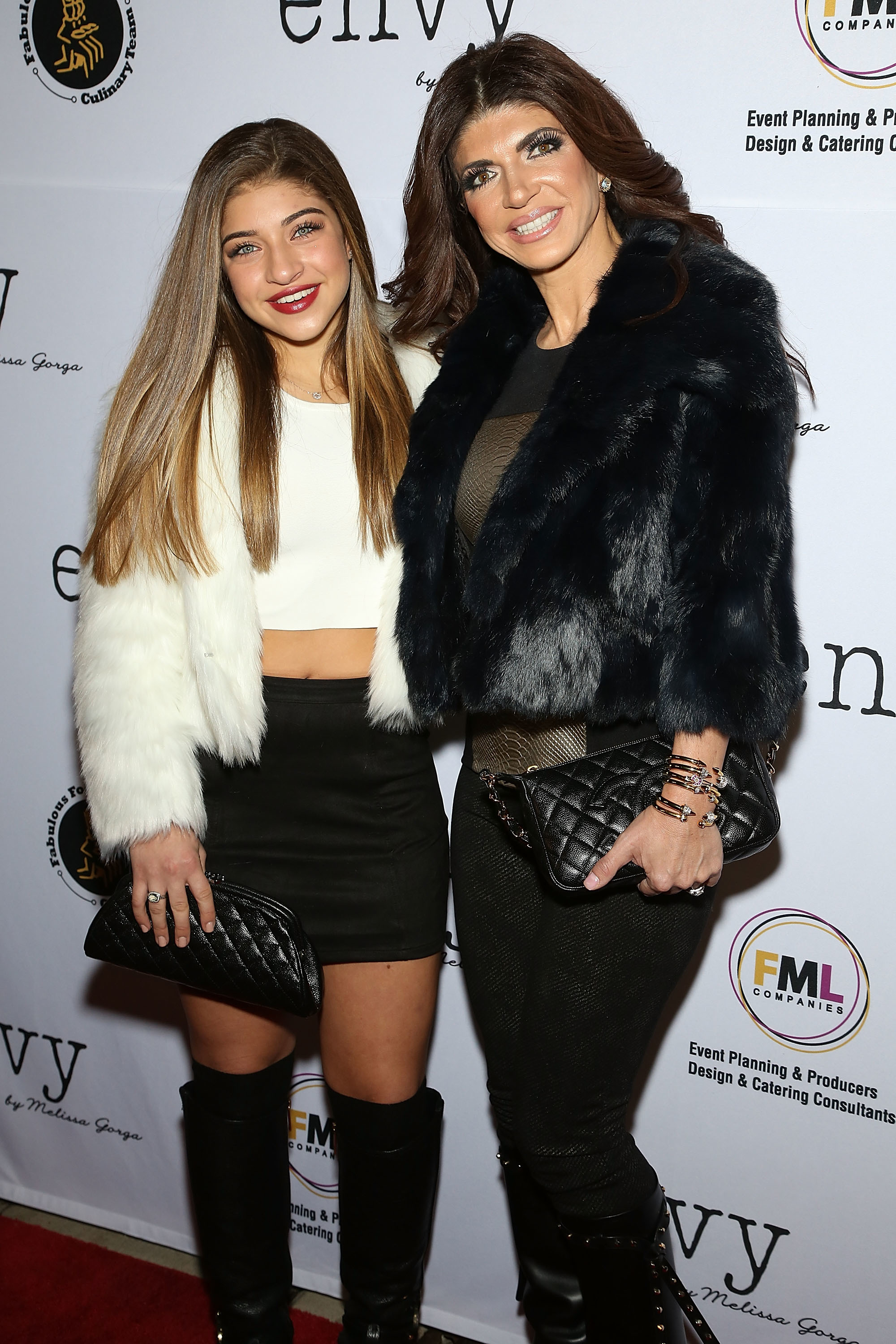 Gia Giudice and Teresa Giudice attend the Grand Opening of envy by Melissa Gorga Boutique in Montclair, New Jersey on Jan. 14, 2016