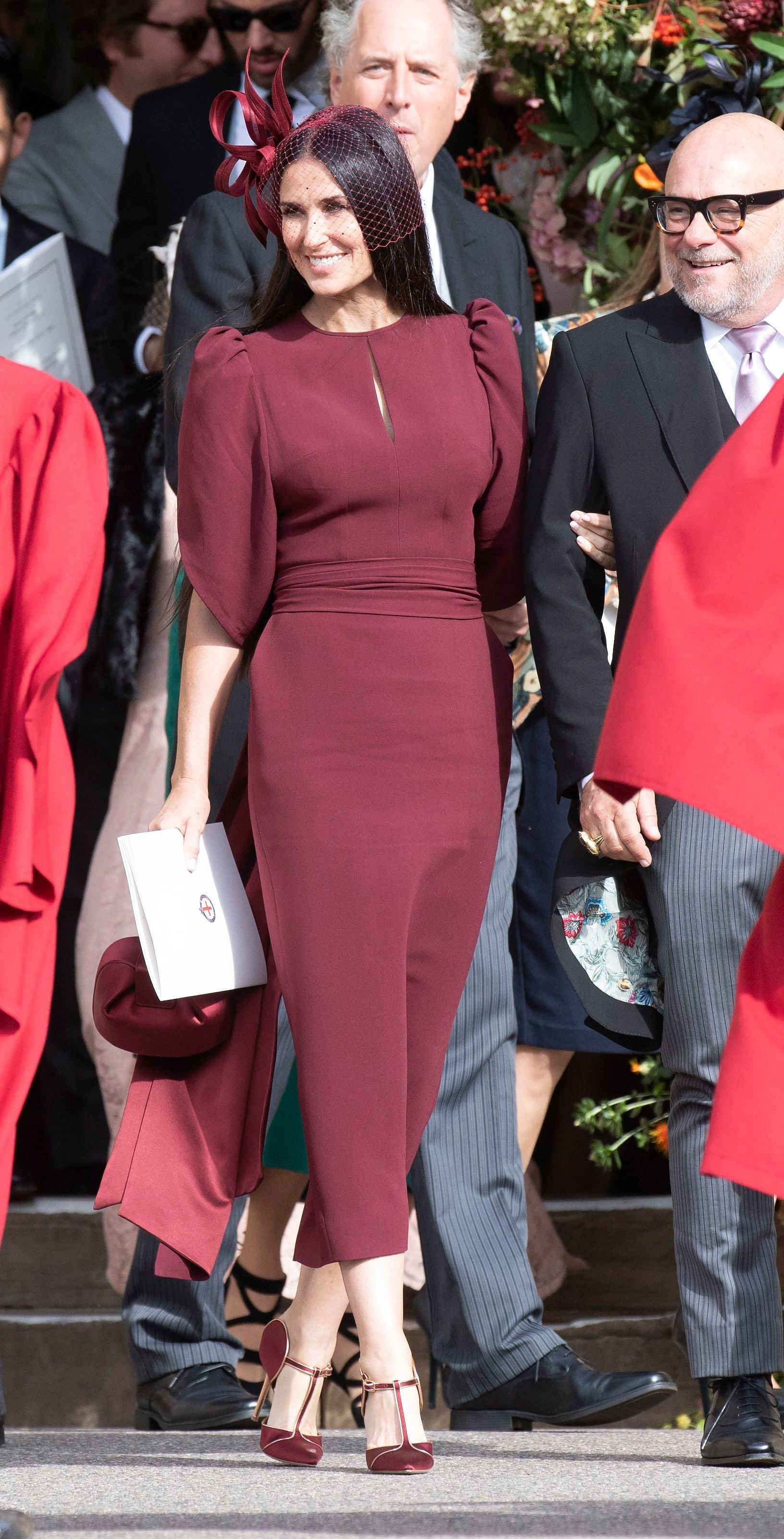 Demi Moore attends Princess Eugenie of York and Jack Brooksbank's wedding at St. George's Chapel at Windsor Castle on Oct. 12, 2018.