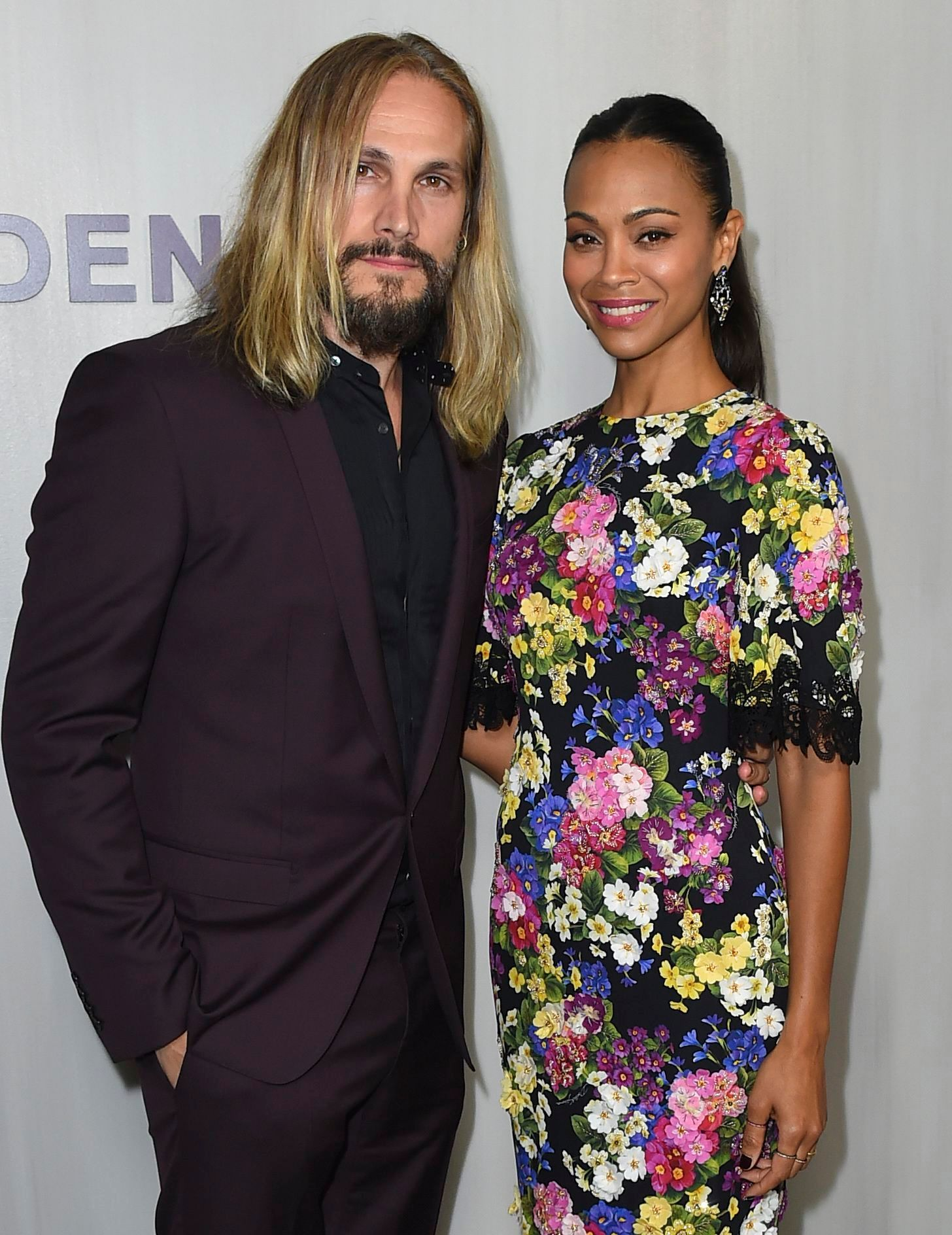 Marco Perego and Zoe Saldana arrive at the 16th Annual Hammer Museum Gala in the Garden on in Los Angeles on Oct. 14, 2018.