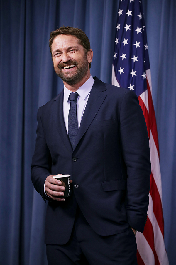 """Gerard Butler participates in a news conference about his new submarine action film """"Hunter Killer"""" at the Pentagon  in Arlington, Virginia, on Oct. 15, 2018."""