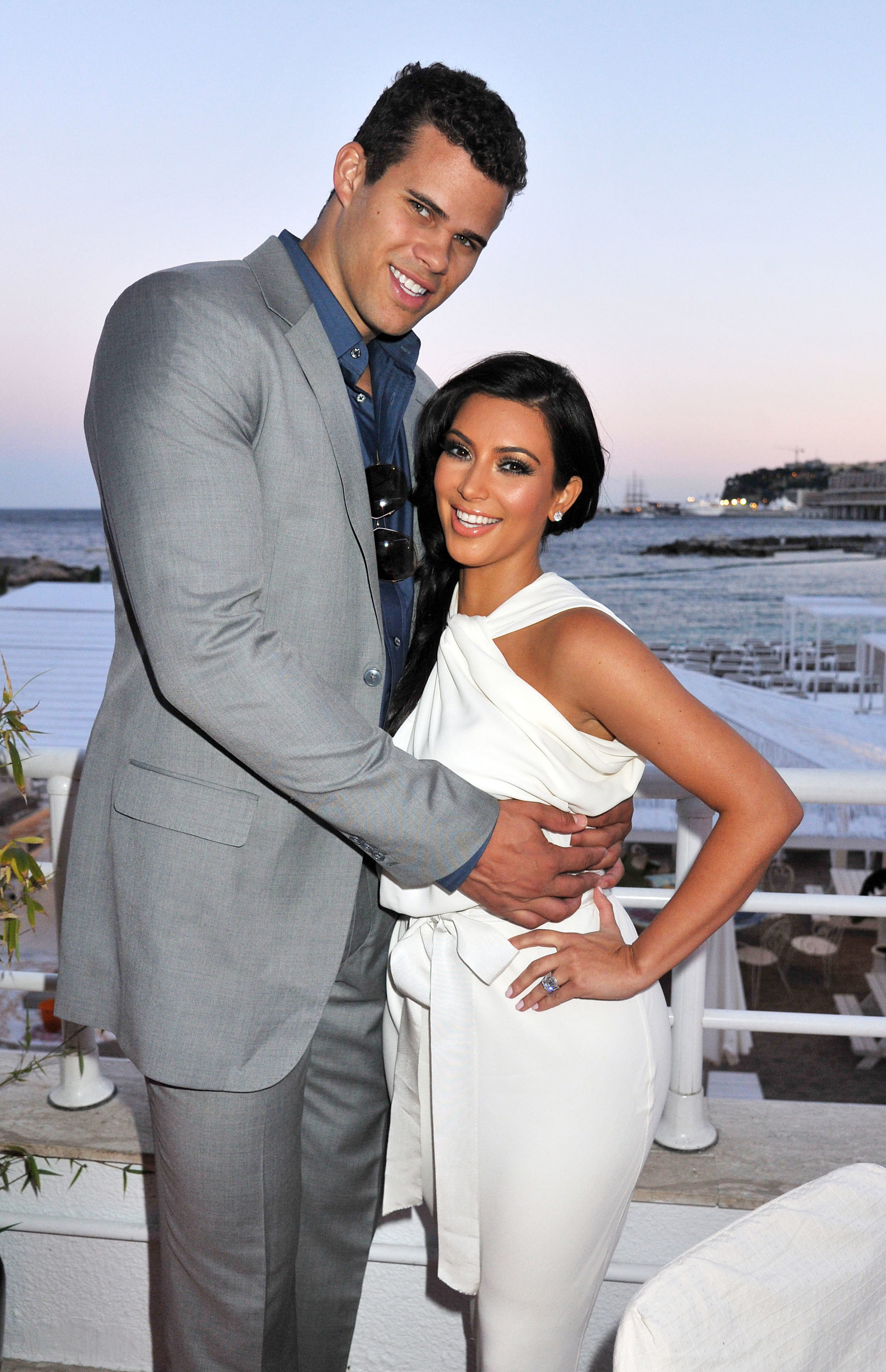 Kim Kardashian and Kris Humphries appear at the Amber Lounge Fashion Show and Auction at Le Meridien Beach Plaza in Monaco on May 28, 2011.