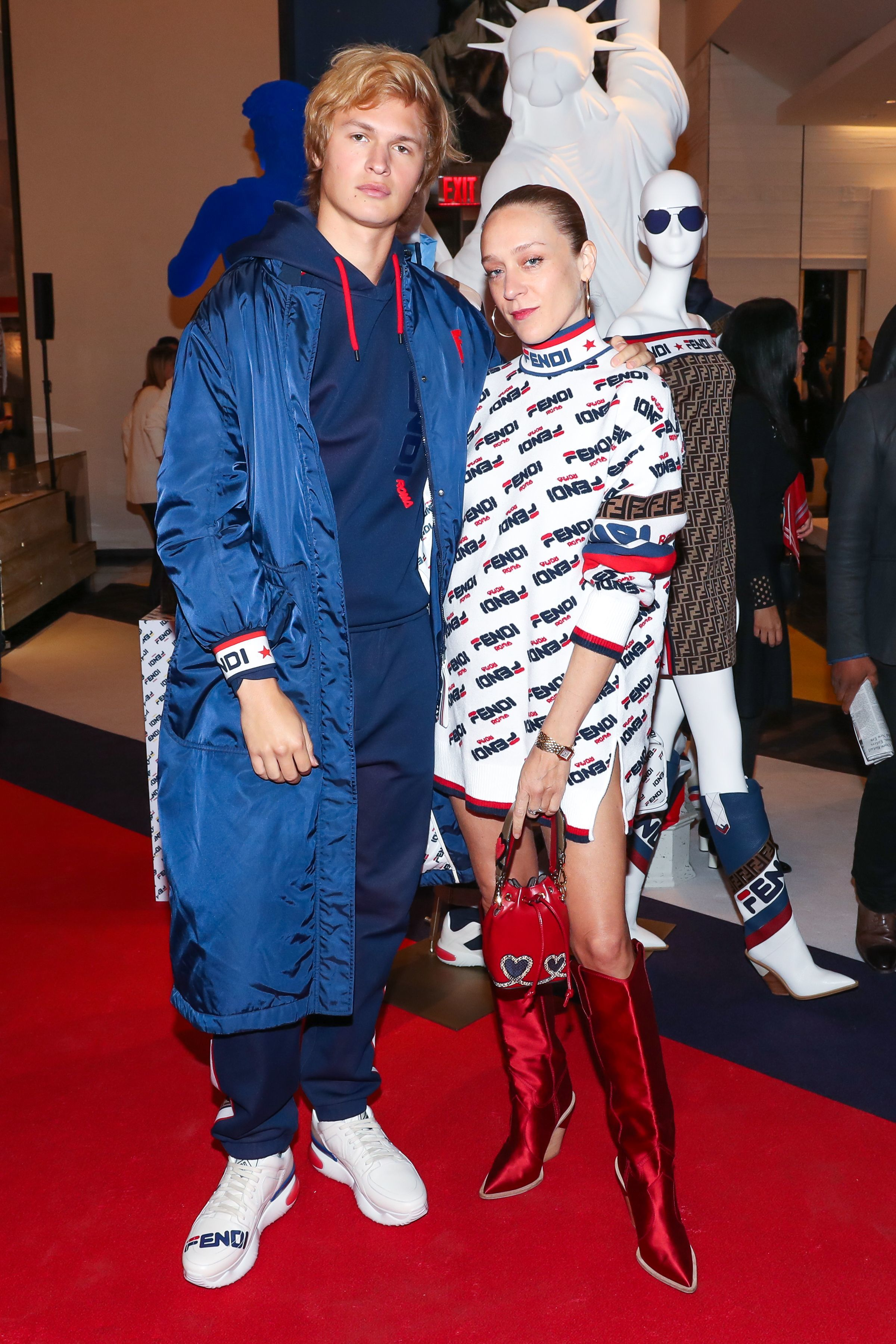 Ansel Elgort and Chloe Sevigny attend the Fendi Mania Capsule Collection Launch in New York City on Oct. 16, 2018.