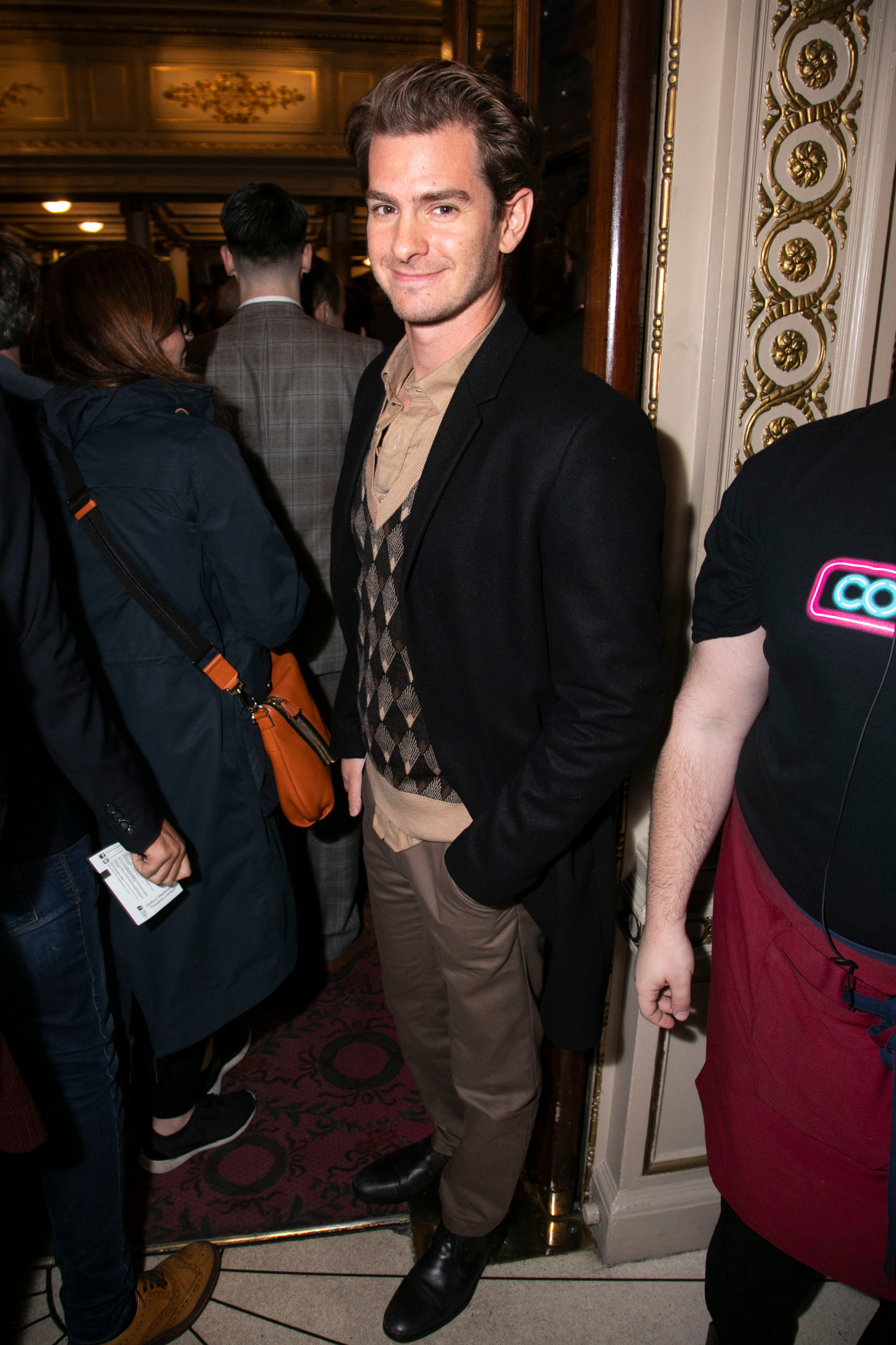 """Andrew Garfield attends the """"Company"""" Press Night in London on Oct. 17, 2018."""