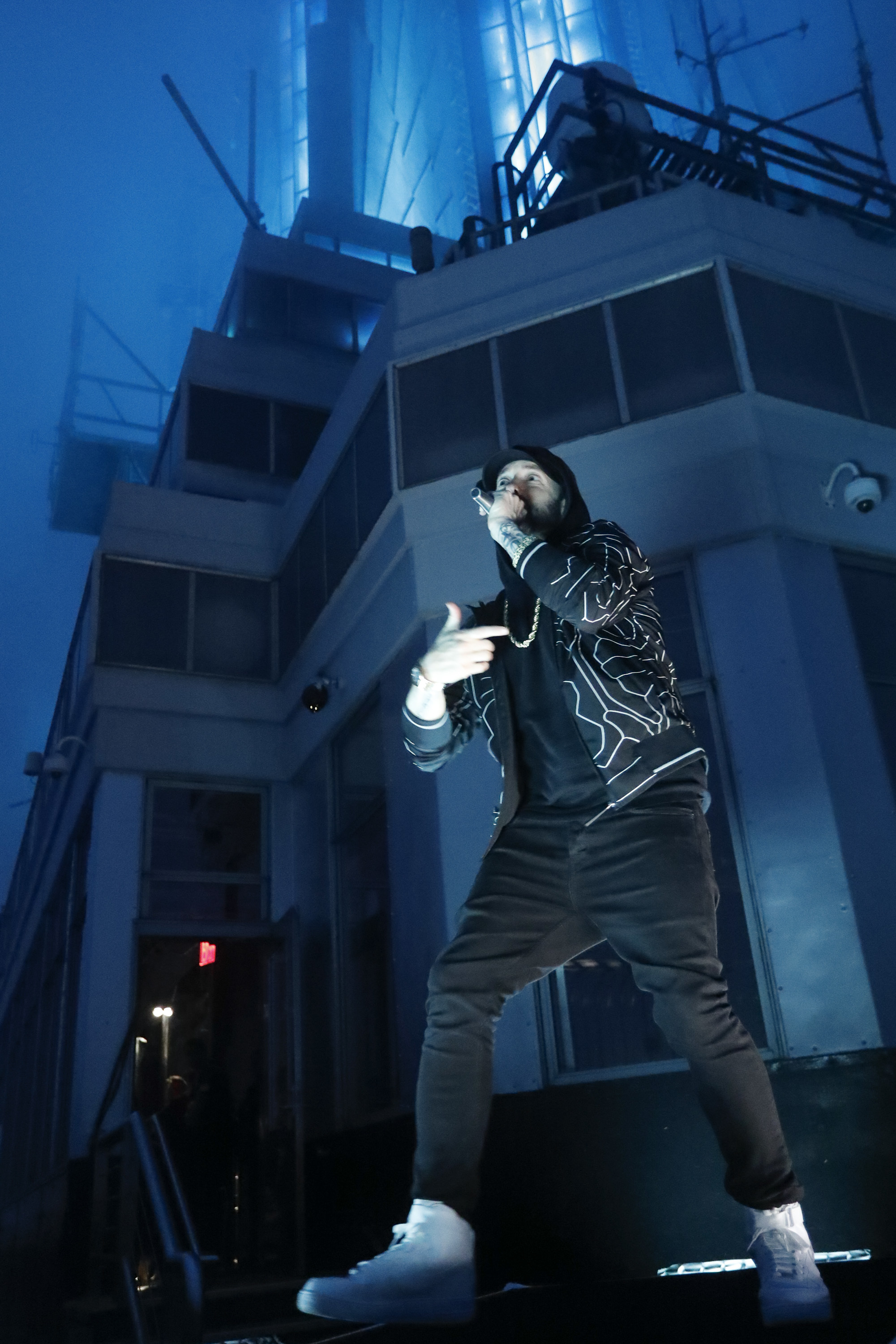 """Eminem performs on top of the Empire State Building in New York City while taping """"Jimmy Kimmel Live!""""  on Oct. 15, 2018."""