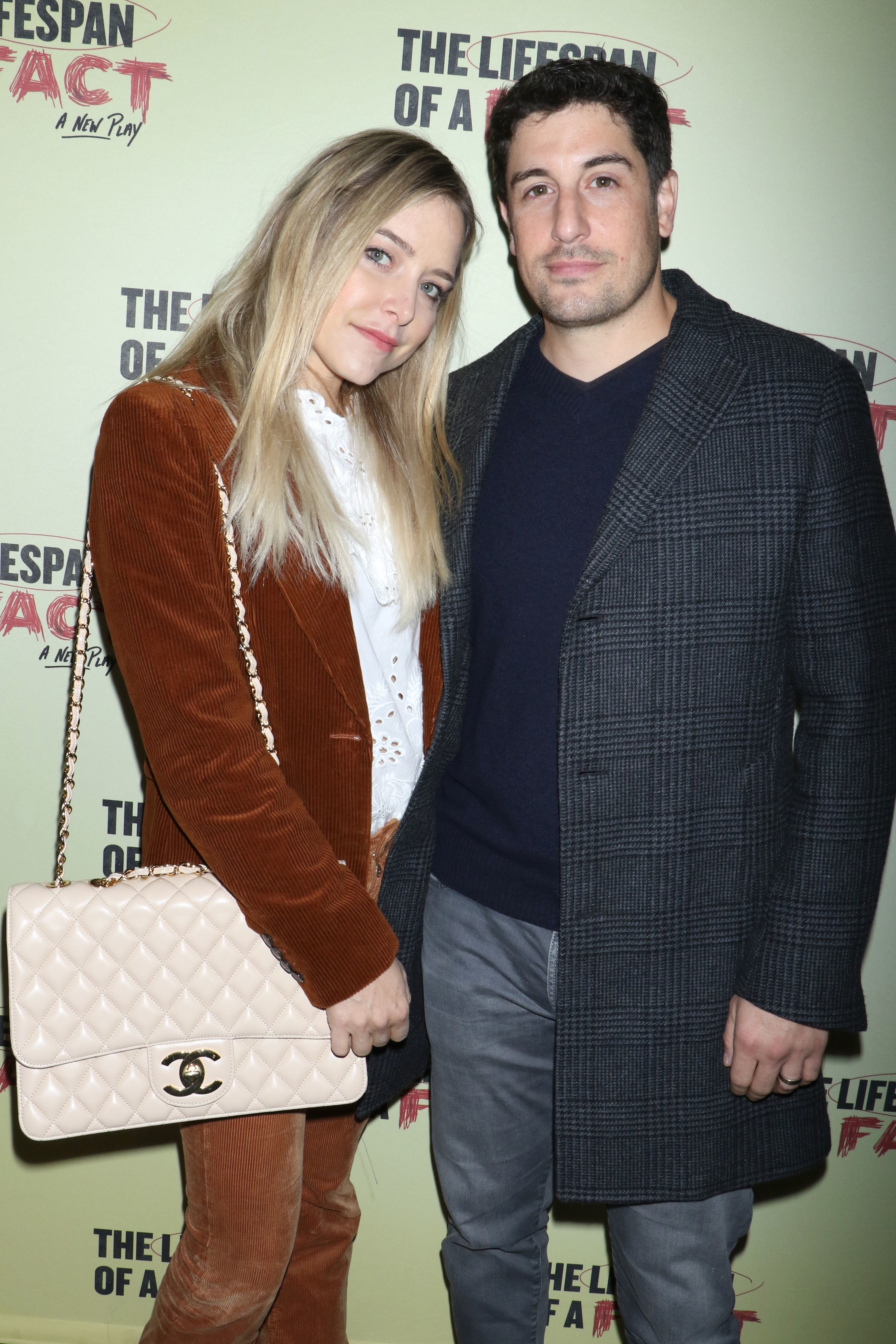 """Jenny Mollen and Jason Biggs attend the """"Lifespan of a Fact"""" Broadway play opening night in New York City on Oct. 18, 2018."""