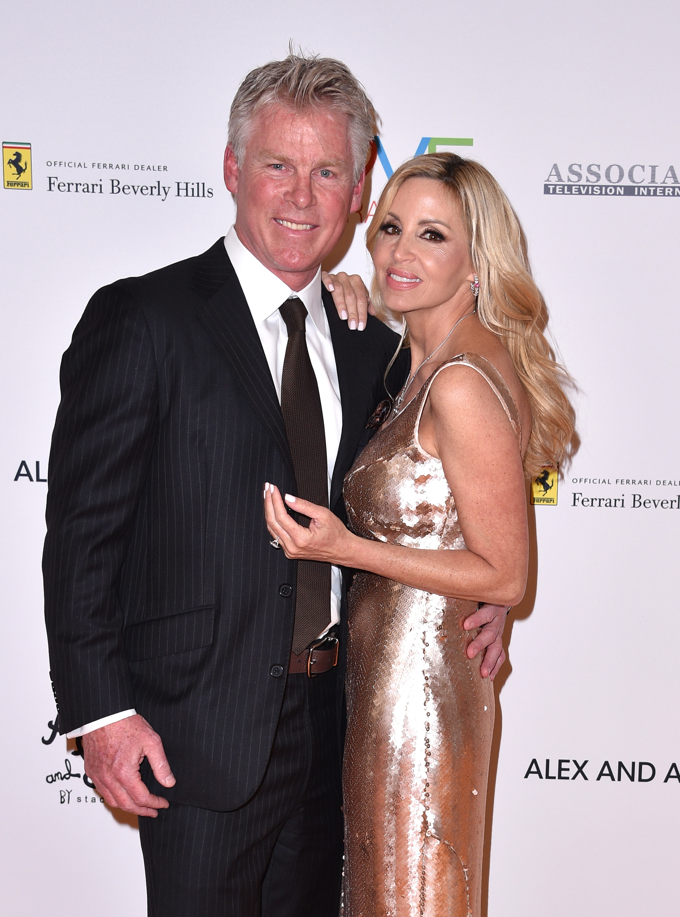 David C. Meyer and Camille Grammer attend the Race to Erase MS Gala in Los Angeles on April 20, 2018.
